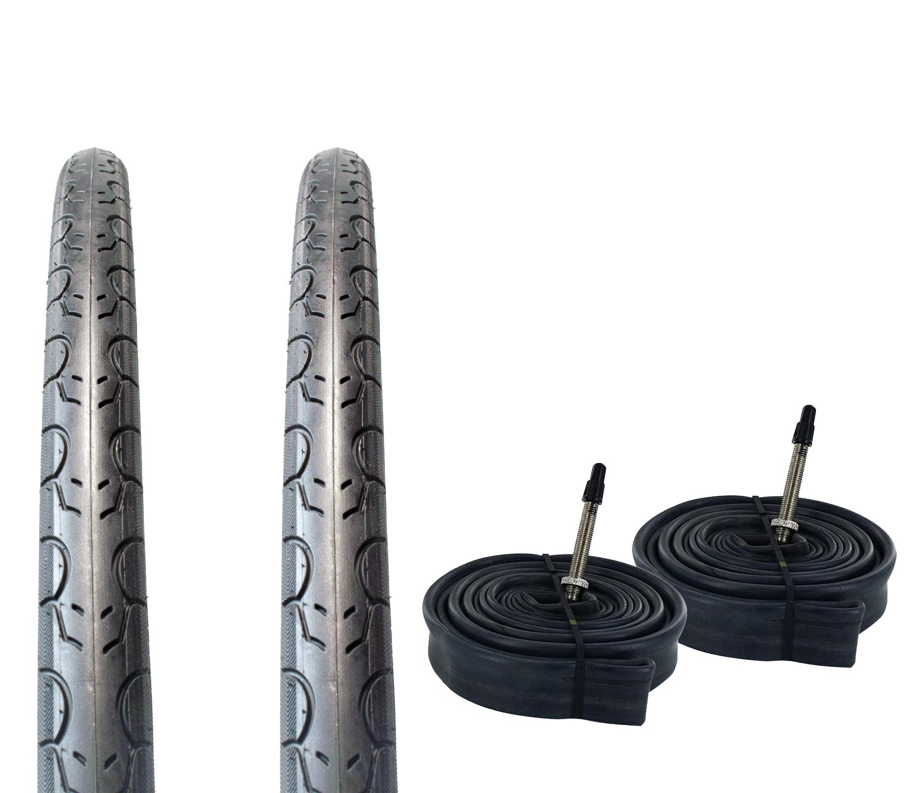 Presta//French 80 MM Valve Zol Bundle 2 Pack Z1076 Road Tires and Tube 700x25C