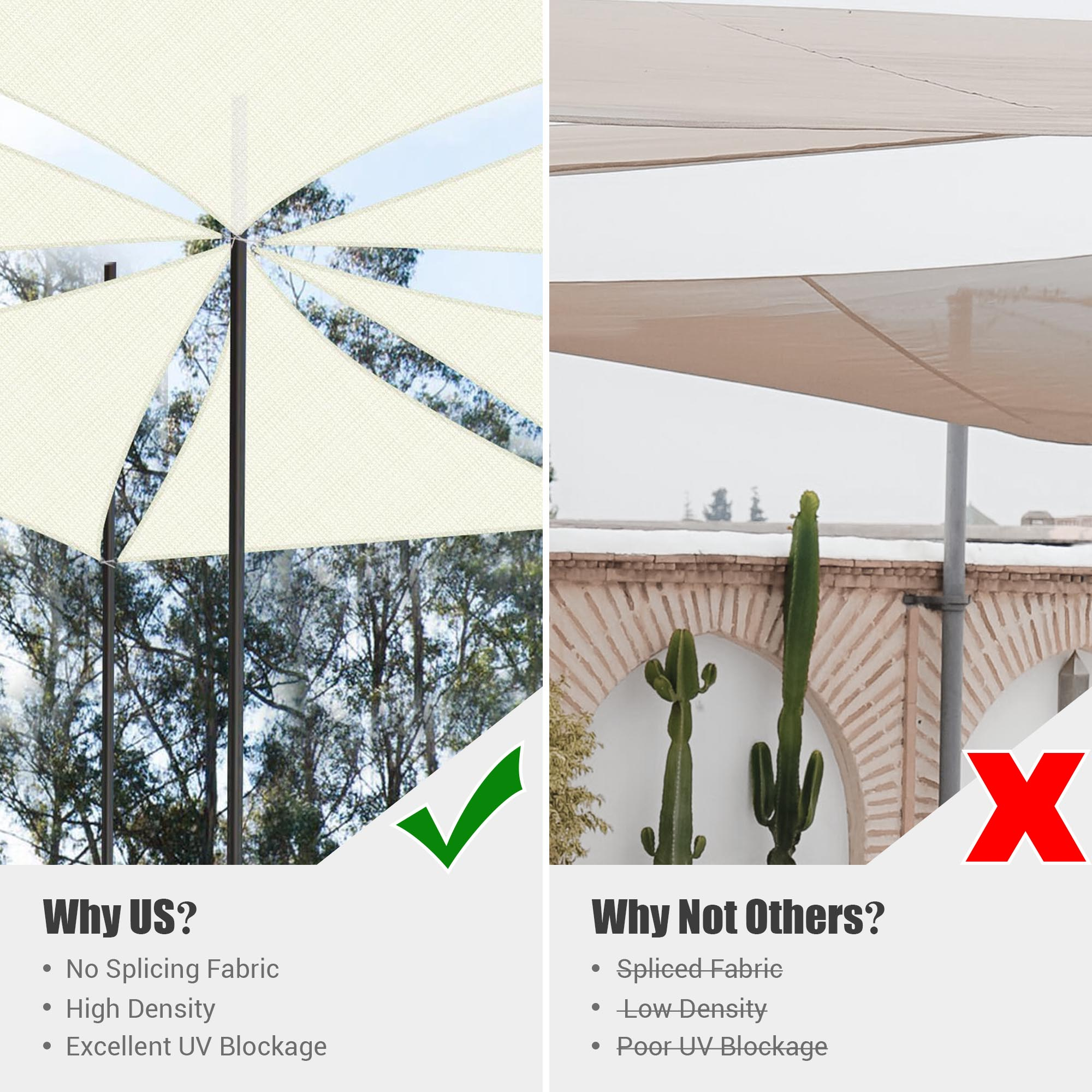 3FT//5FT//7FT 97/% UV Block Triangle Sun Shade Sail Canopy Patio Outdoor Garden