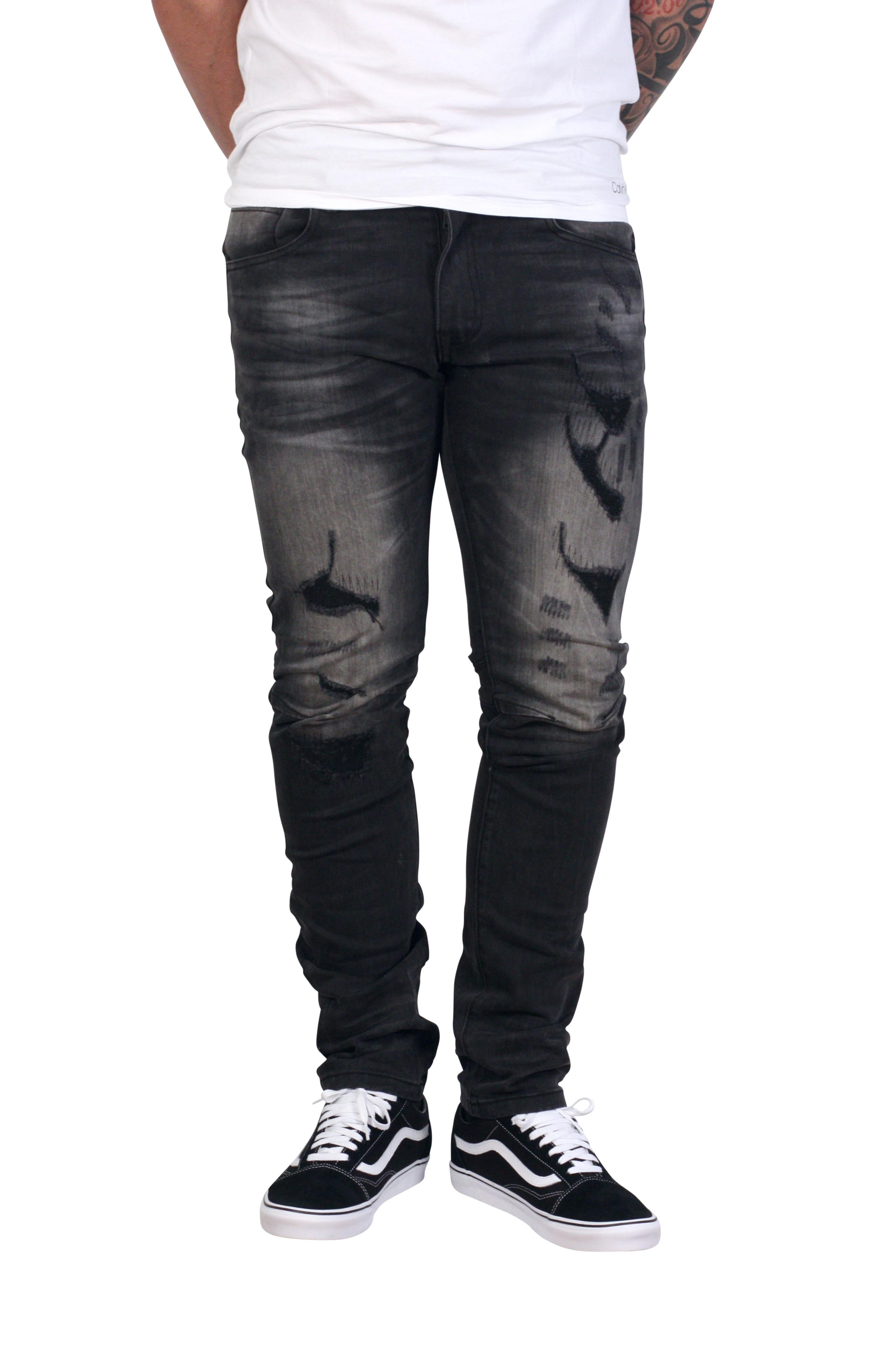Smoke Rise Mens Ripped Knee Stretch Slim Fit Denim Jeans Black