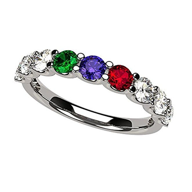2a510f18fc617 Details about NANA U'r Mother's Ring 1-9 Simulated Birthstone Sterling  Silver or 10kt Gold