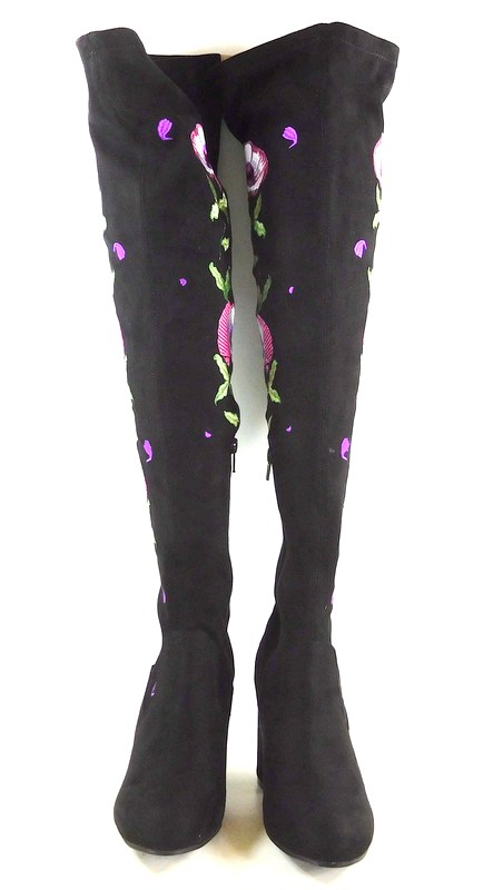 e6c174e4803 Carlos Santana Quality Embroidered Over-The-Knee Boots Black Micro 6.5M