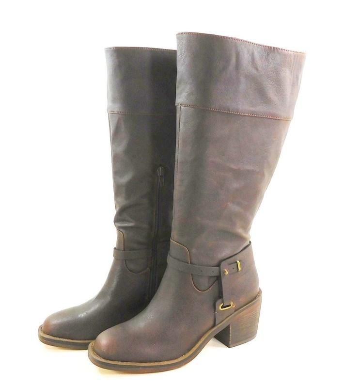 b7a5d1bb7e54 Xoxo Marisa Tall Wide Calf Western Chocolate 6.5M