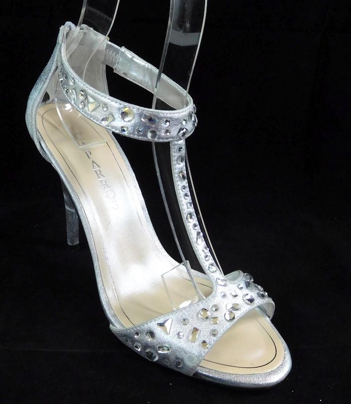 932c35e8b72 Caparros Esther T-Strap Evening Sandals Silver Metallic 9M ...