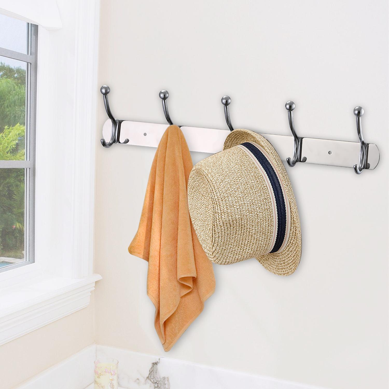 edelstahl kleiderhaken hakenleiste garderobenhaken garderobe wand haken ebay. Black Bedroom Furniture Sets. Home Design Ideas