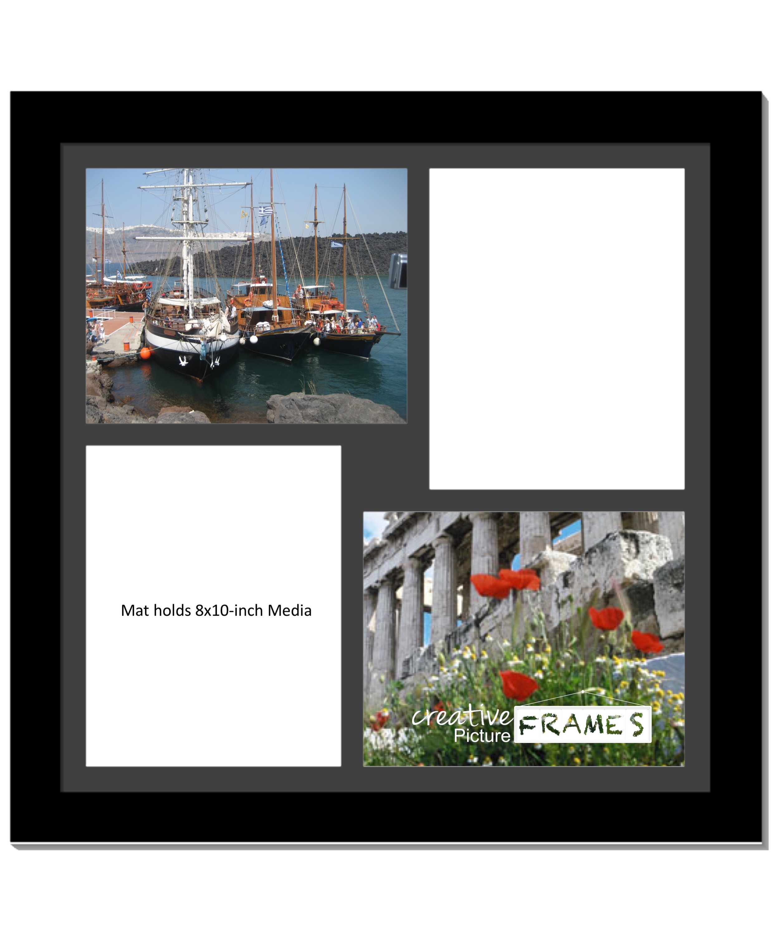 Creativepf 4 Opening Multi 8x10 White Picture Frame W