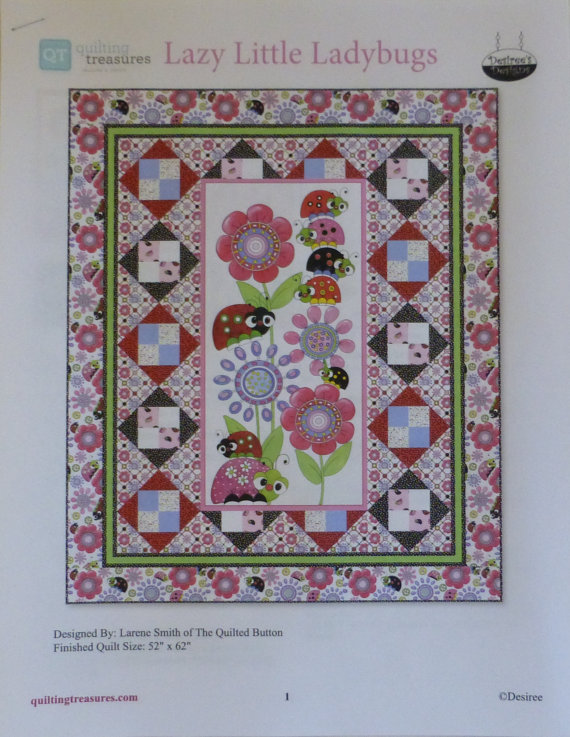 Quilt Kit~Lazy Little Ladybugs~ Pattern & Fabric~Top/Binding,Quilting Treasures eBay