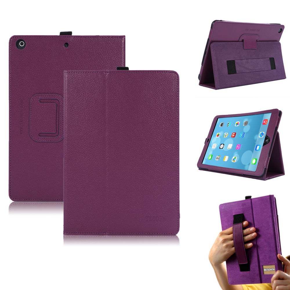 PU Leather Smart Case Cover Stand Hand Strap For Apple ...