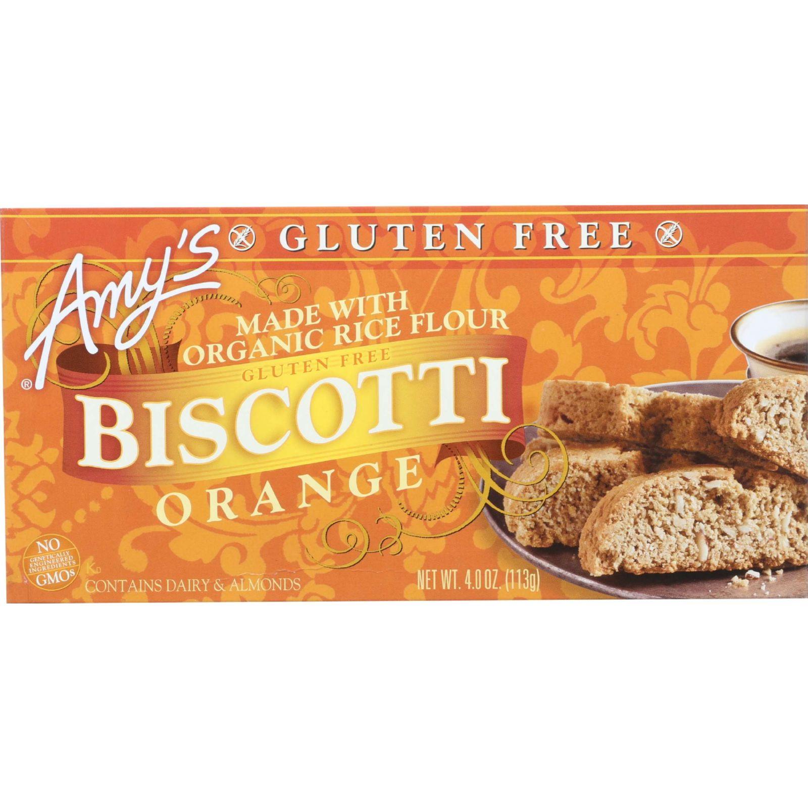 Amys Biscotti - Organic - Orange - Gluten Free - 4 oz - case of 6