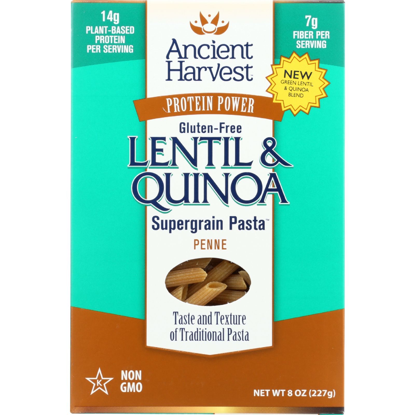 Ancient Harvest Pasta - Supergrain - Green Lentil and Quinoa Penne - Gluten Free - 8 oz - case of 6