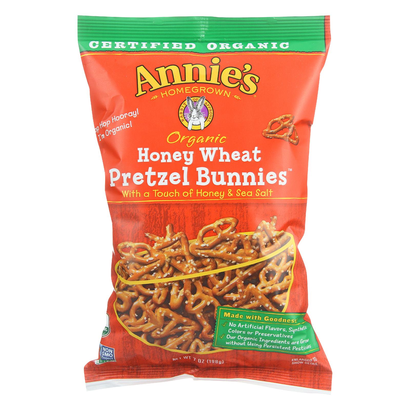 Annie's Homegrown Organic Honey Wheat Pretzel Bunnies - Case of 12 - 7 oz.