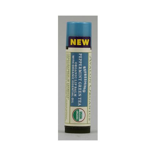 Avalon Organics Refreshing Organic Lip Balm Peppermint Green Tea - 0.15 oz - Case of 24