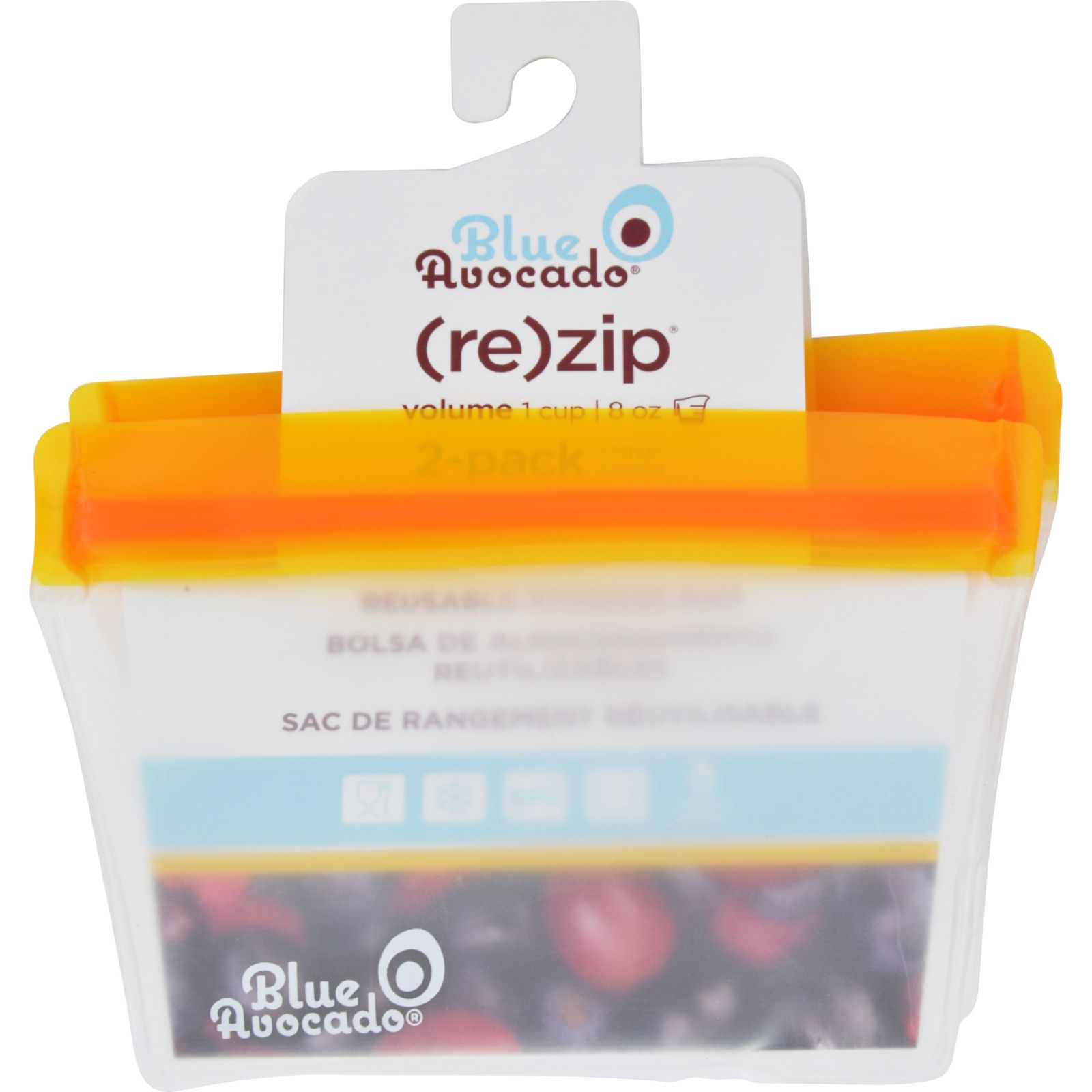 Blue Avocado Bag - Re-Zip - 1 Cup - Orange - 2 Pack