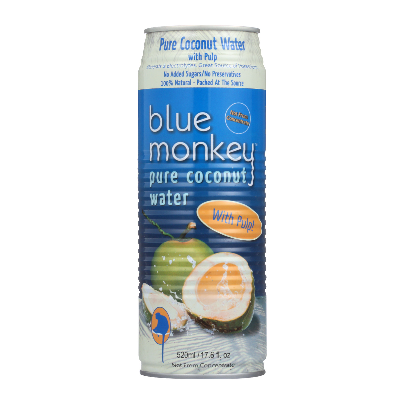 Blue Monkey Coconuts Gone Wild Coconut Water - Natural, with Pulp - Case of 24 - 17.6 oz.