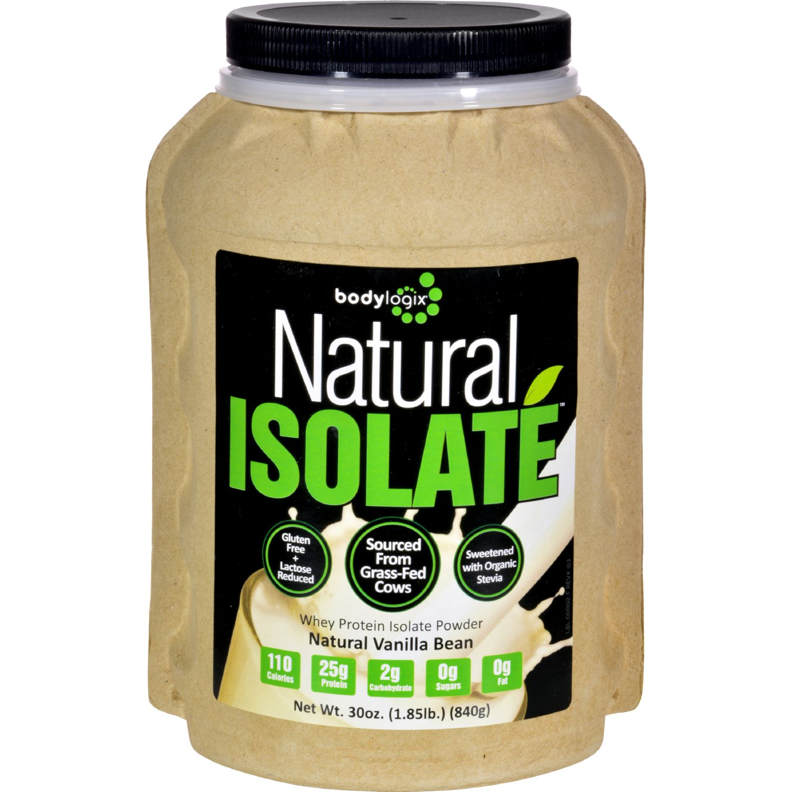 Bodylogix Isolate Powder - Natural Whey - Vanilla Bean - 1.85 lb