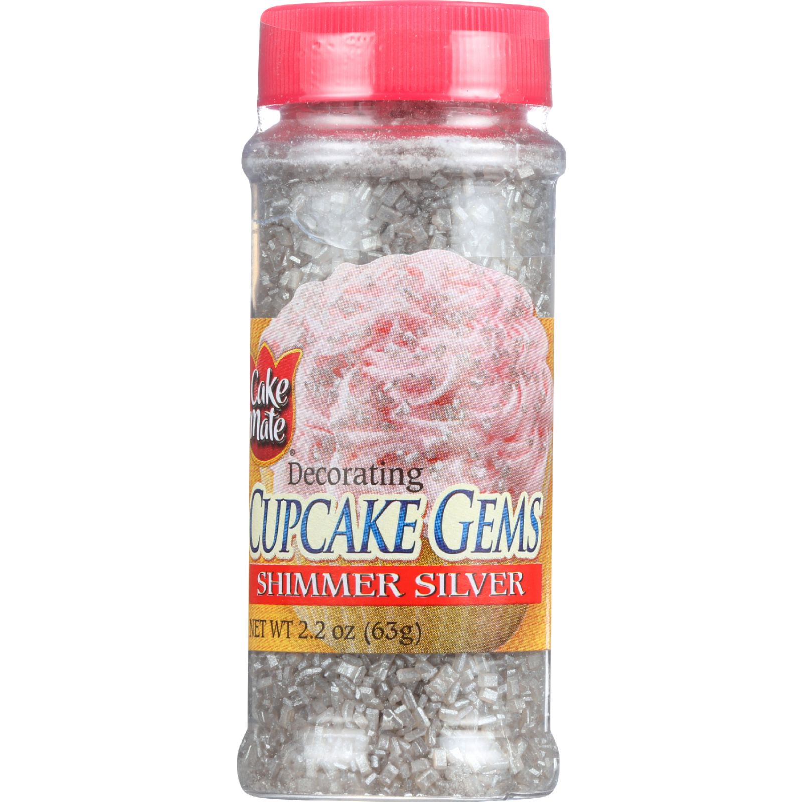 Cake Mate Cake Decor - Cupcake Gems - Sugar - Shimmer Silver - 2.2 oz - case of 6