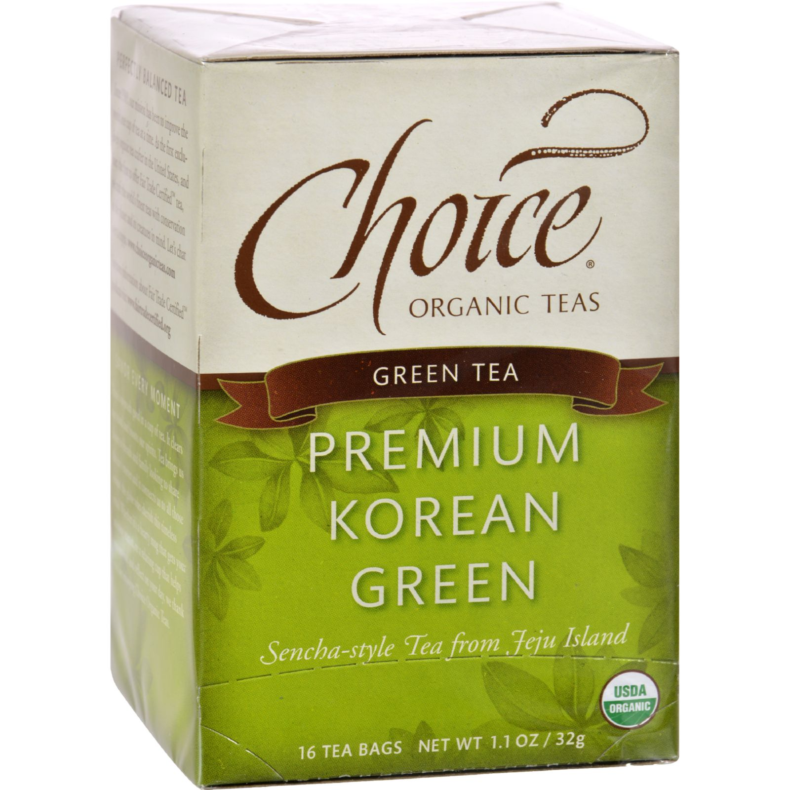 Choice Organic Teas Premium Korean Green Tea - Case of 6 - 16 Bags