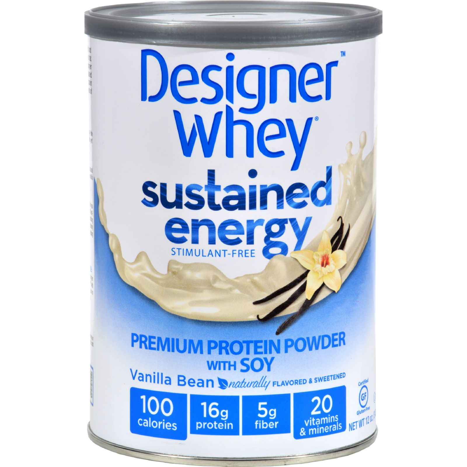 Designer Whey Protein Powder - Sustained Energy Vanilla Bean - 12 oz
