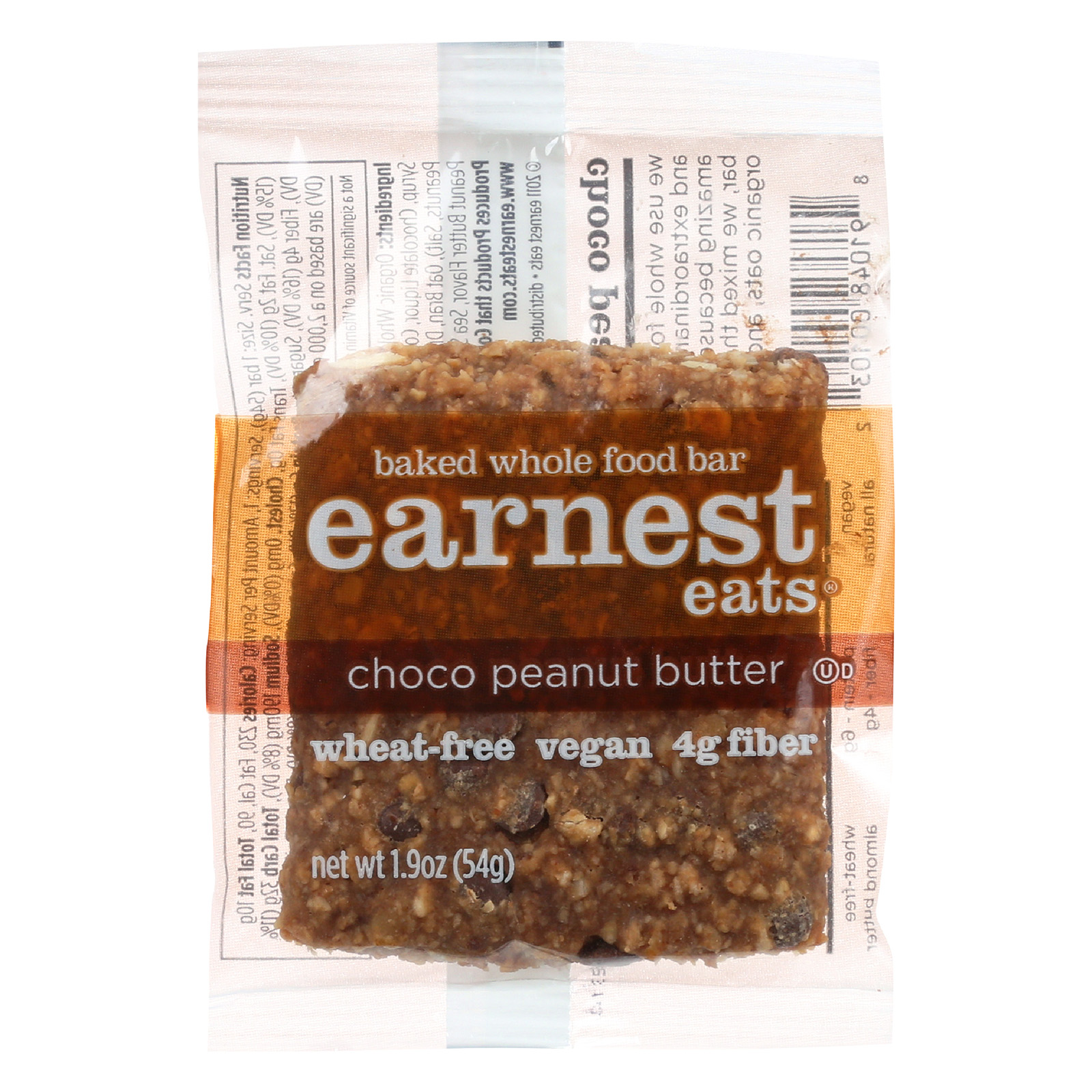 Earnest Eats Baked Whole Food Bar - Chocolate Peanut Butter - Case of 12 - 1.9 oz.