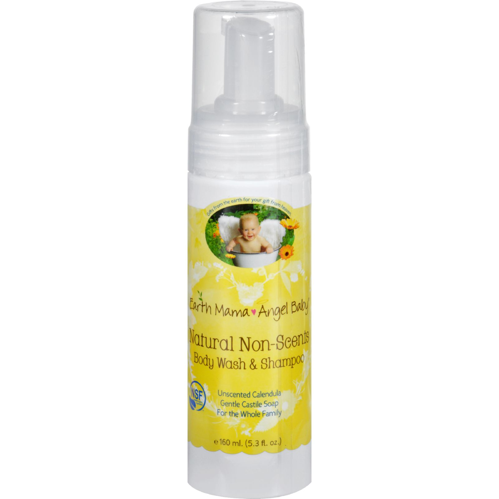 Earth Mama Angel Baby Shampoo and Body Wash - Organic Unscented - 5.3 oz