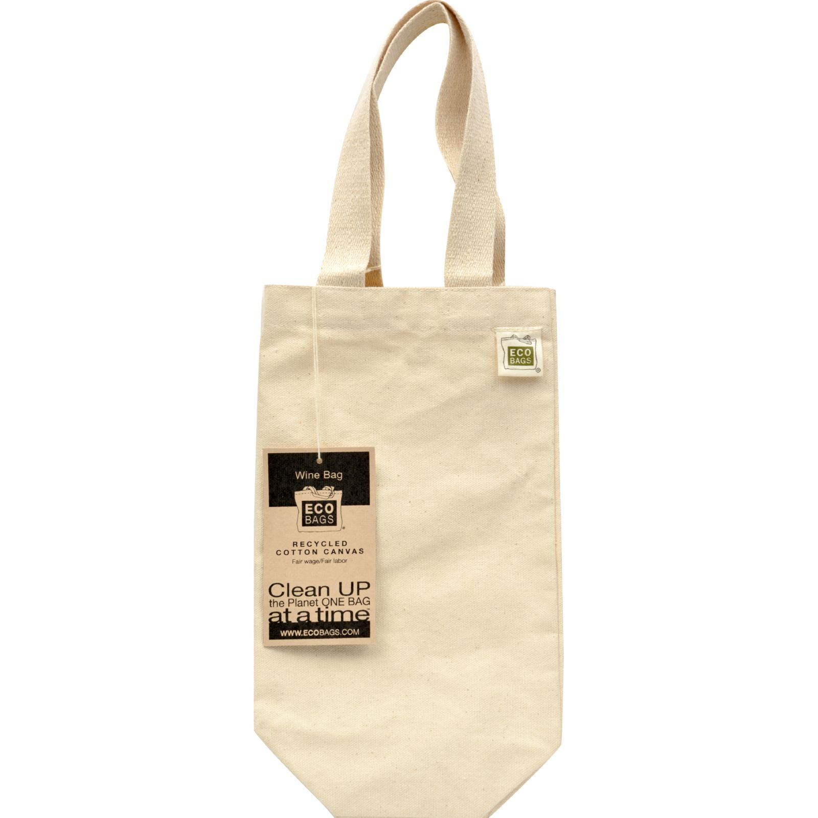 ECOBAGS Canvas Wine Bag (1 bottle) 6.5x12 - Recycled Cotton - 1 Bag