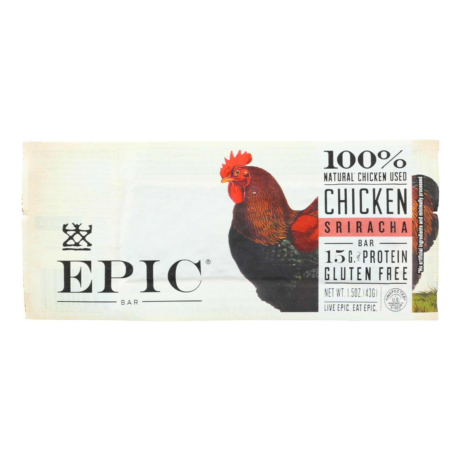 Epic Bar - Chicken Sriracha - 1.5 Oz Bars - Case Of 12