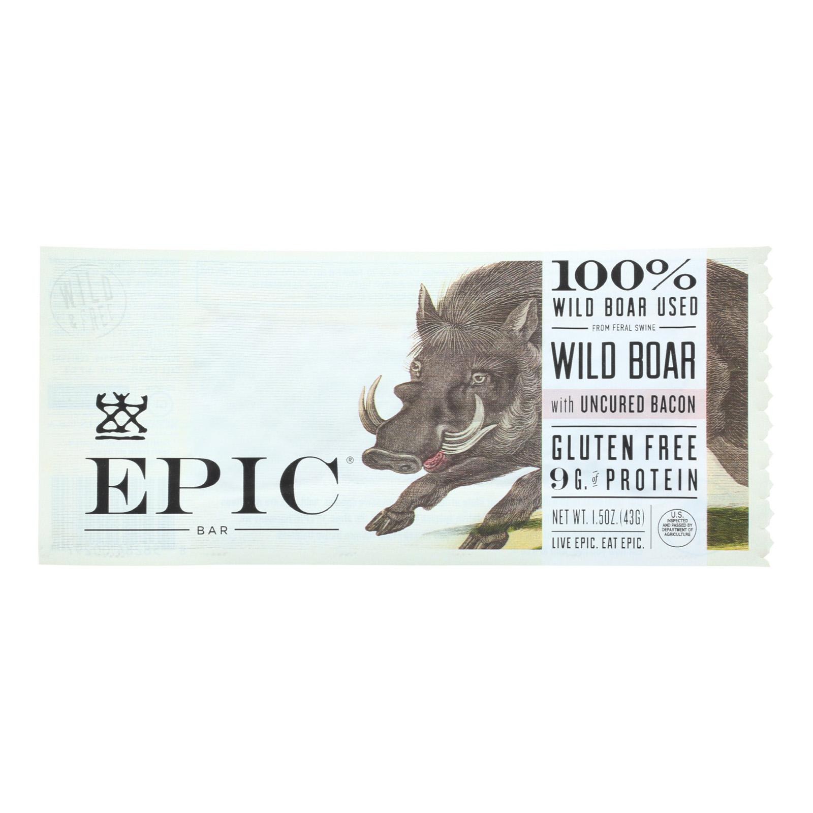 Epic Wild Boar Bar - Uncured Bacon - Case Of 12 - 1.5 Oz.