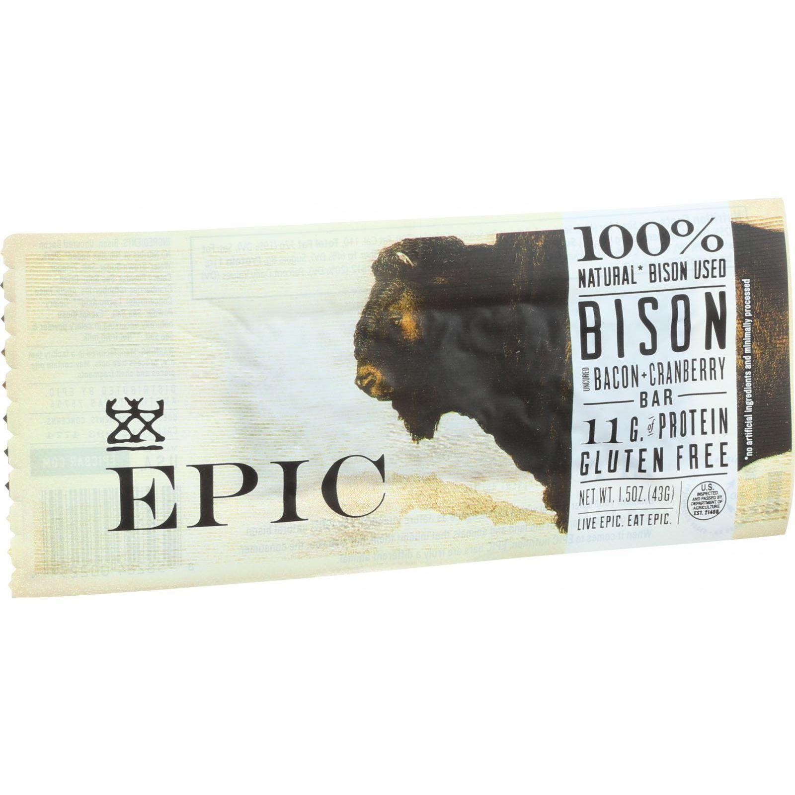 Epic Bar - Bison Bacon Cranberry - 1.5 Oz Bars - Case Of 12