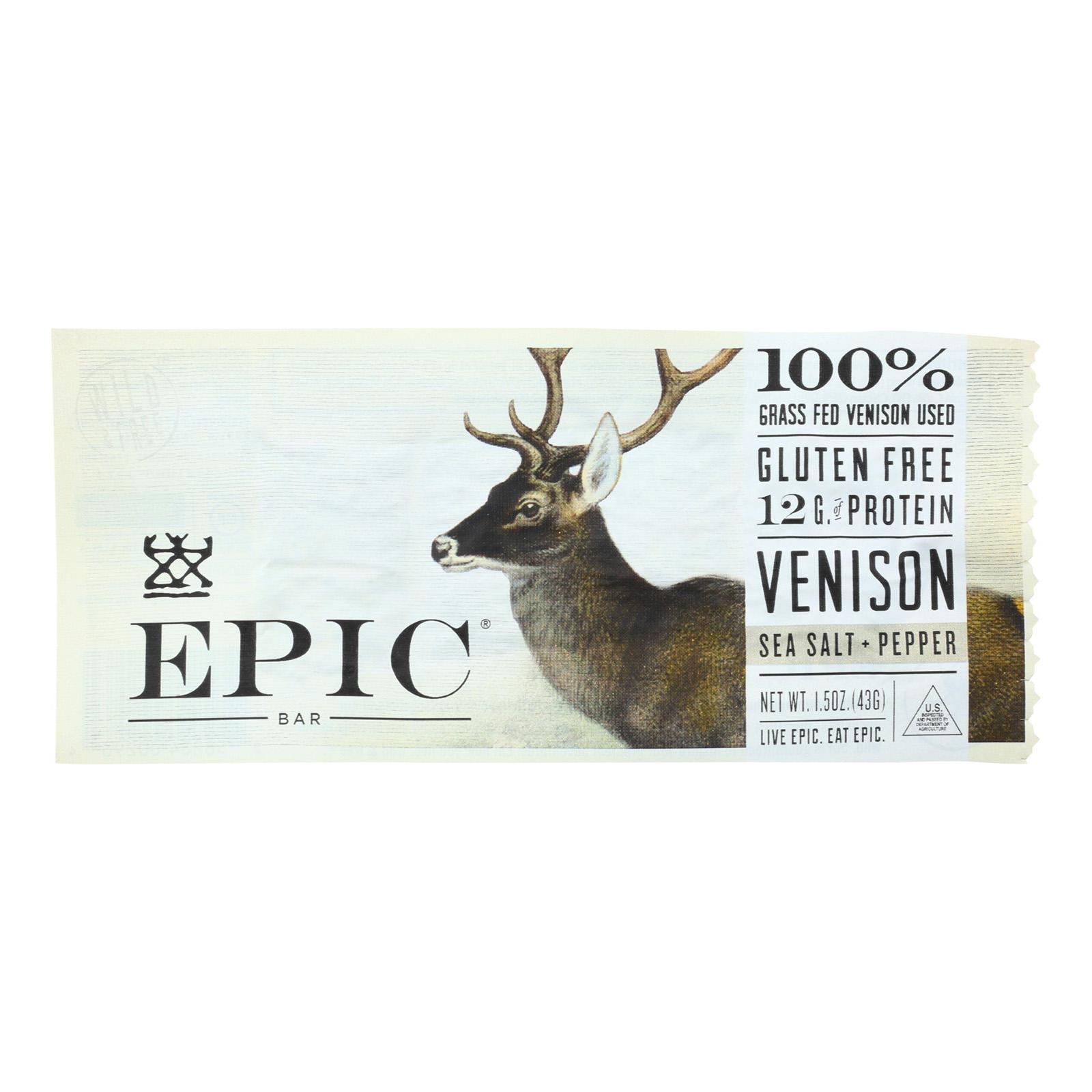 Epic Natural Meat Bar - Venison Sea Salt Pepper - Case Of 12 - 1.5 Oz.