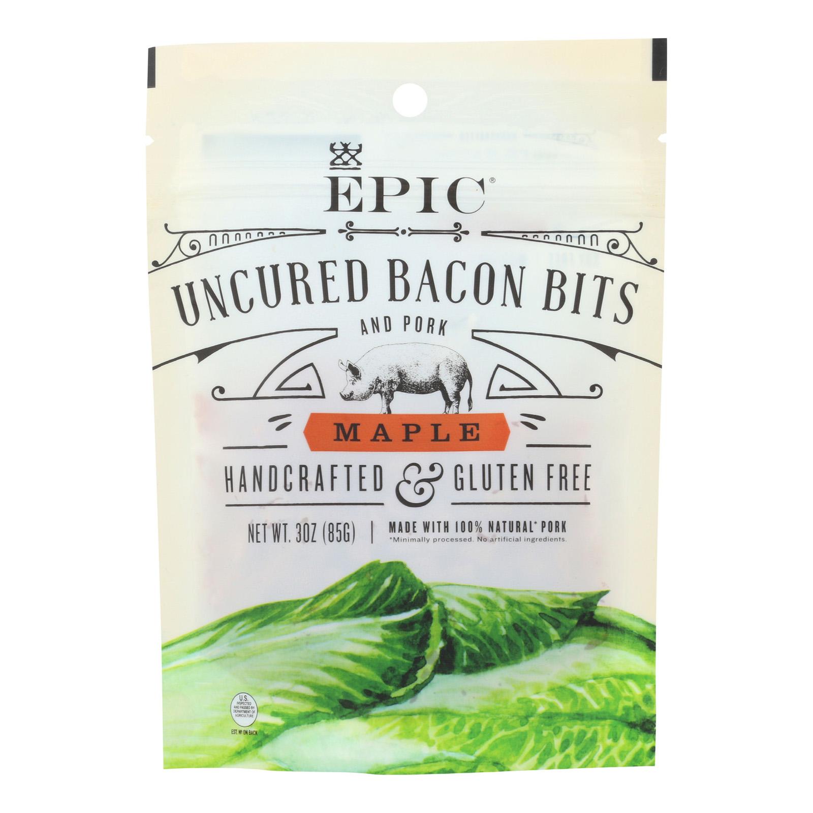 Epic Uncured Bacon Bits - Maple - Case Of 10 - 3 Oz.