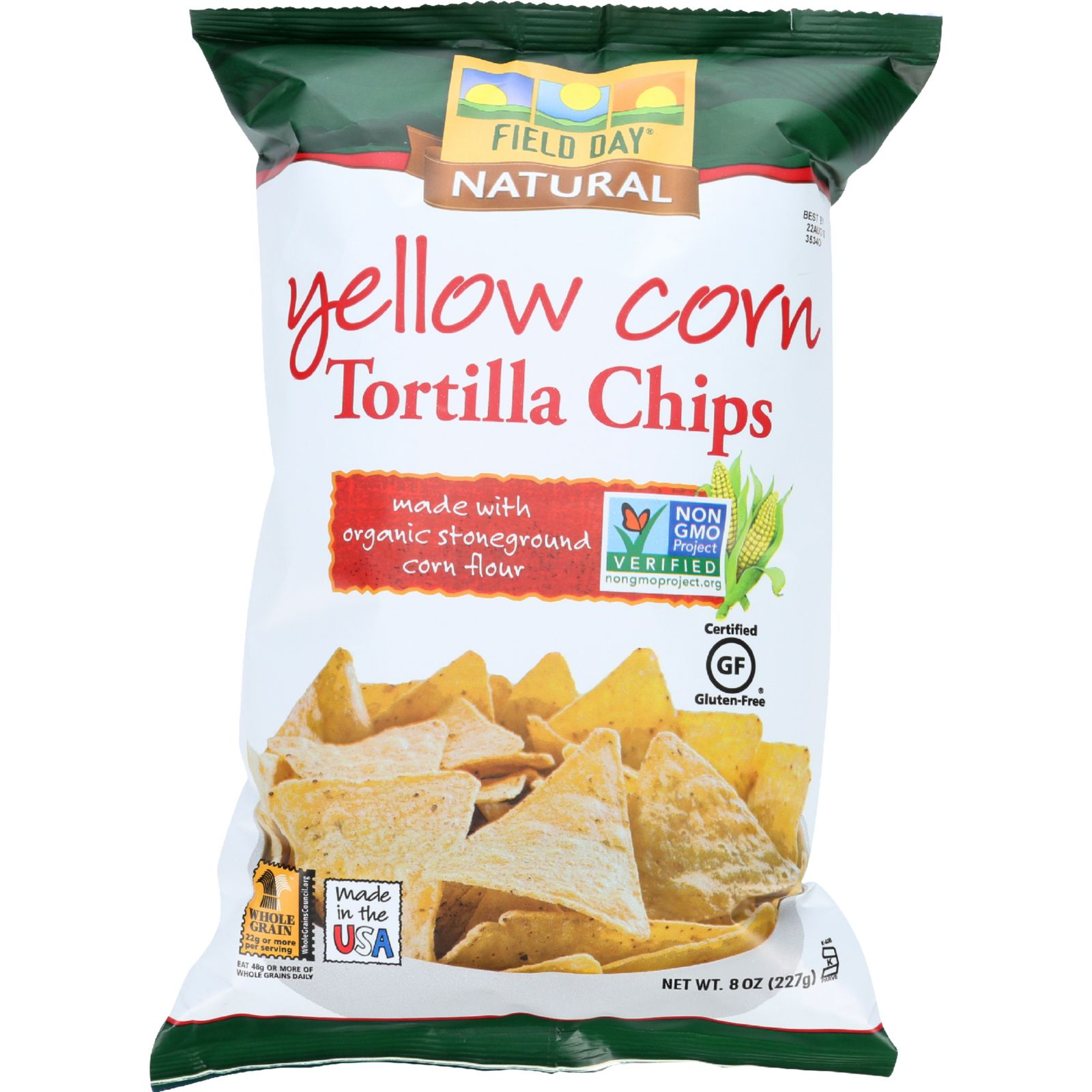 Field Day Tortilla Chips - Organic - Yellow Corn - 8 Oz - Case Of 12
