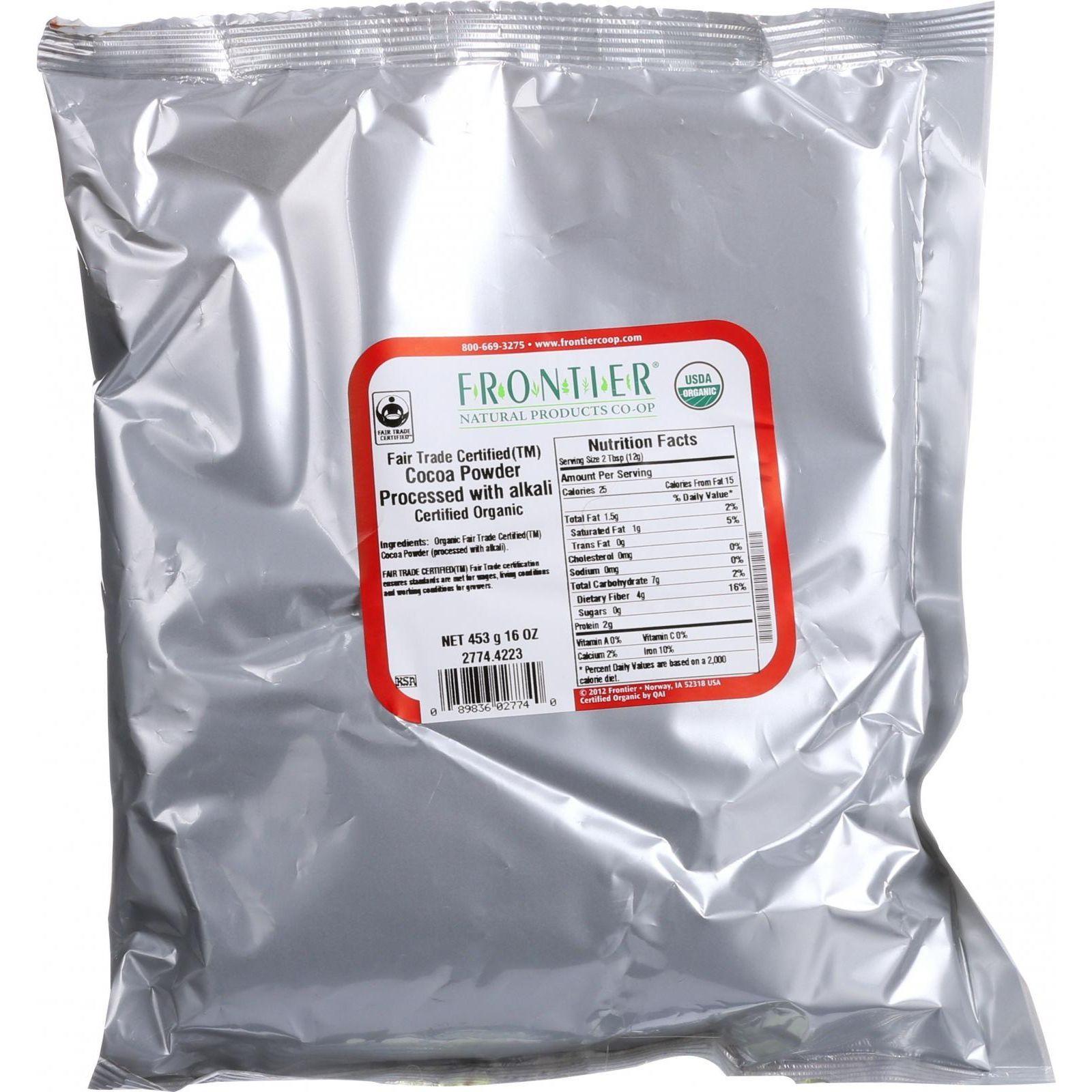 Frontier Herb Cocoa Powder - Organic - Fair Trade Certified - Dutch - Bulk - 1 Lb