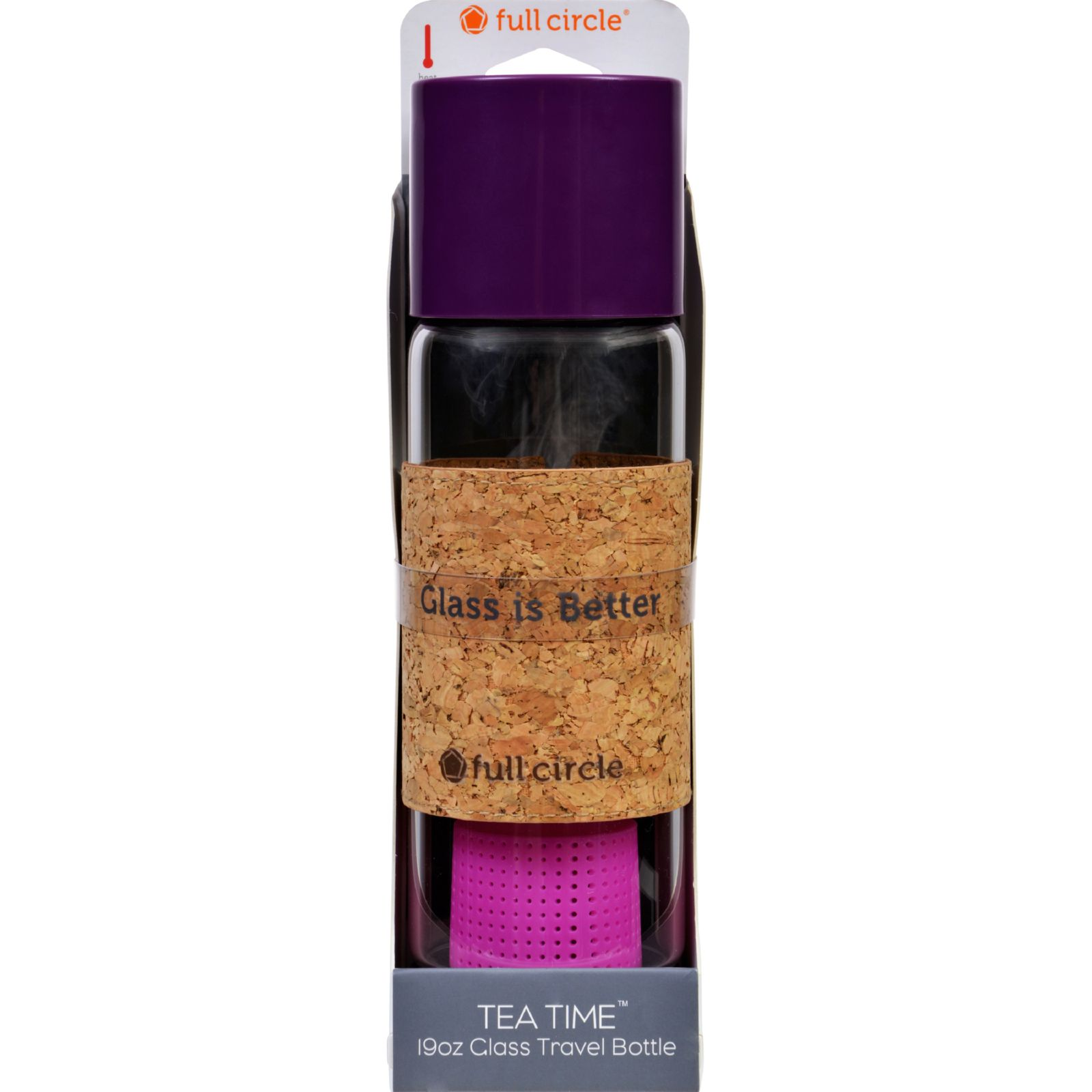 Full Circle Home Tea Bottle - Travel - Glass - Tea Time - Elderberry - 19 Oz