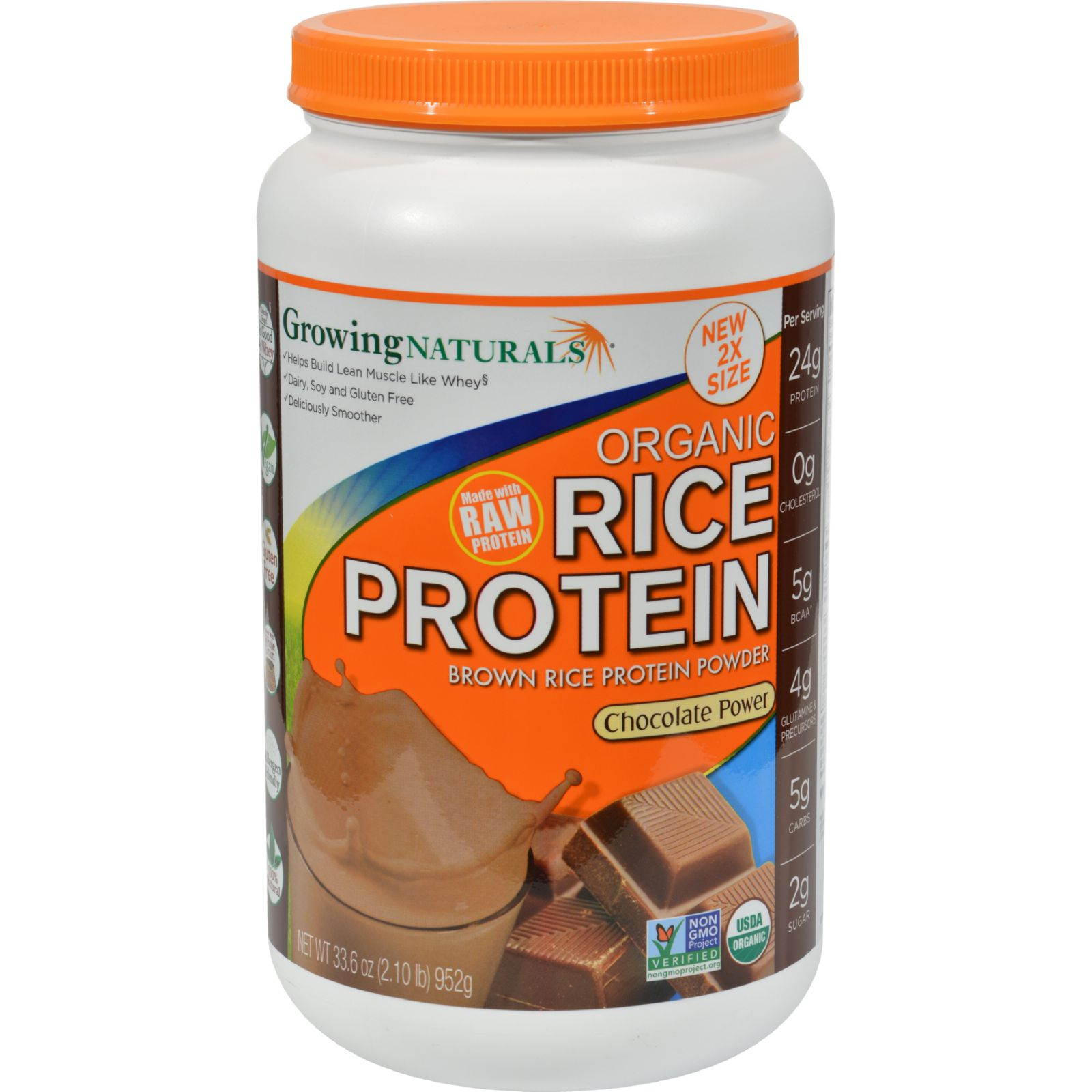Growing Naturals Rice Protein Powder - Chocolate Power - 33.6 Oz