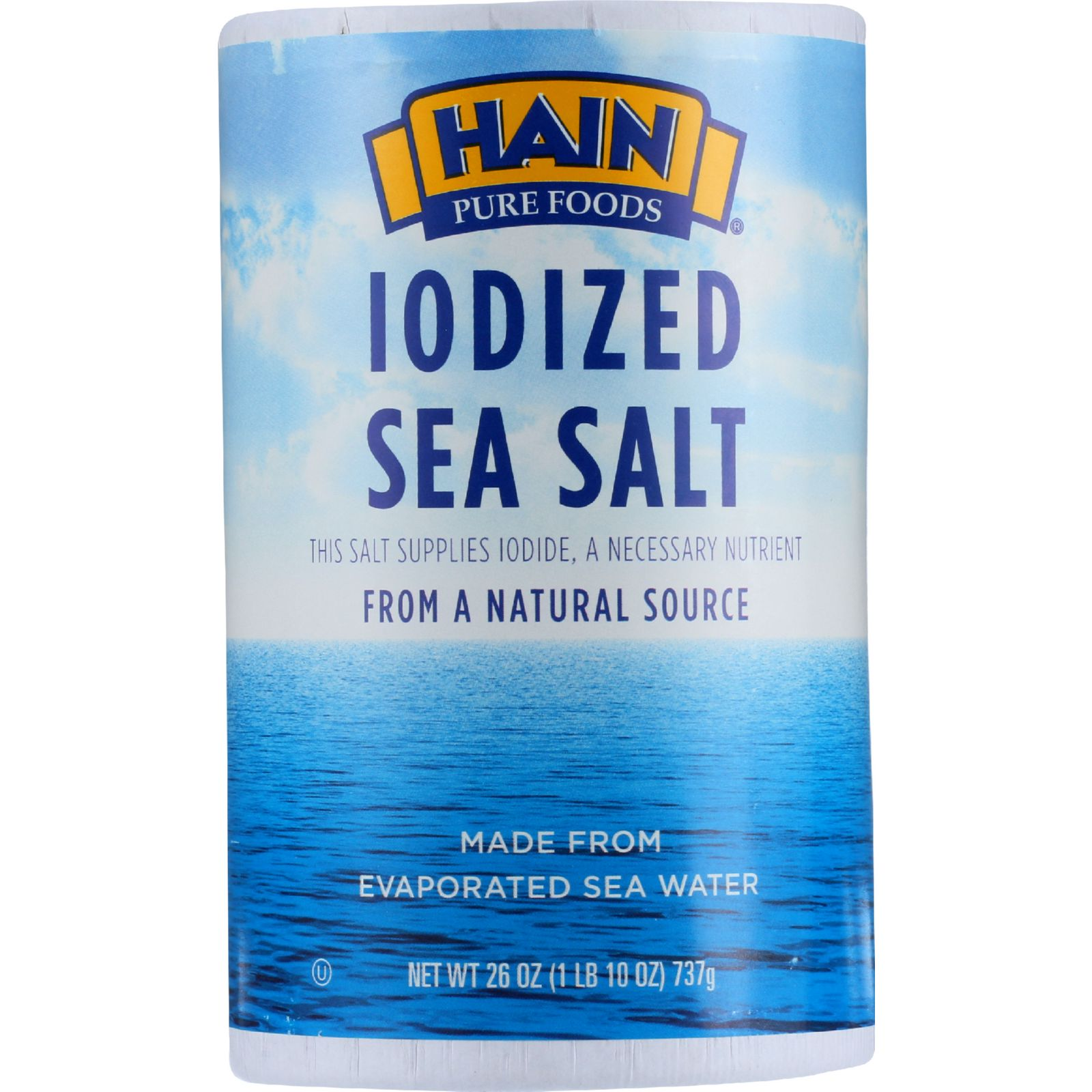 Hain Sea Salt - Iodized - 26 oz - 1 each