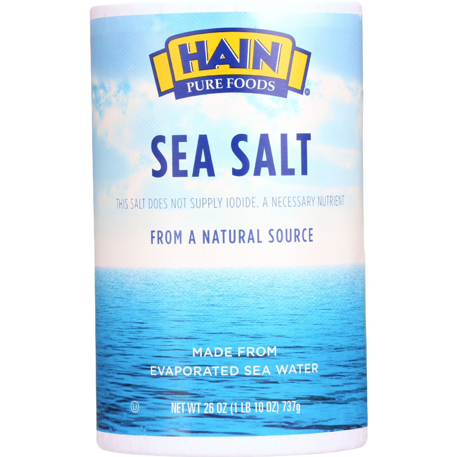 Hain Sea Salt - Plain - 26 oz - 1 each