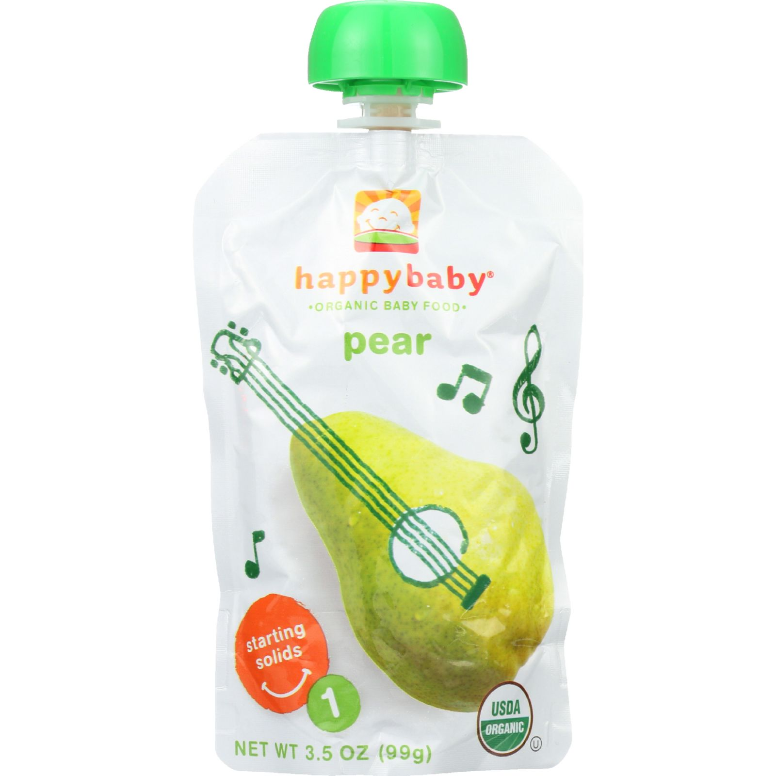 Happy Baby Baby Food - Organic - Starting Solids - Stage 1 - Pears - 3.5 Oz - Case Of 16