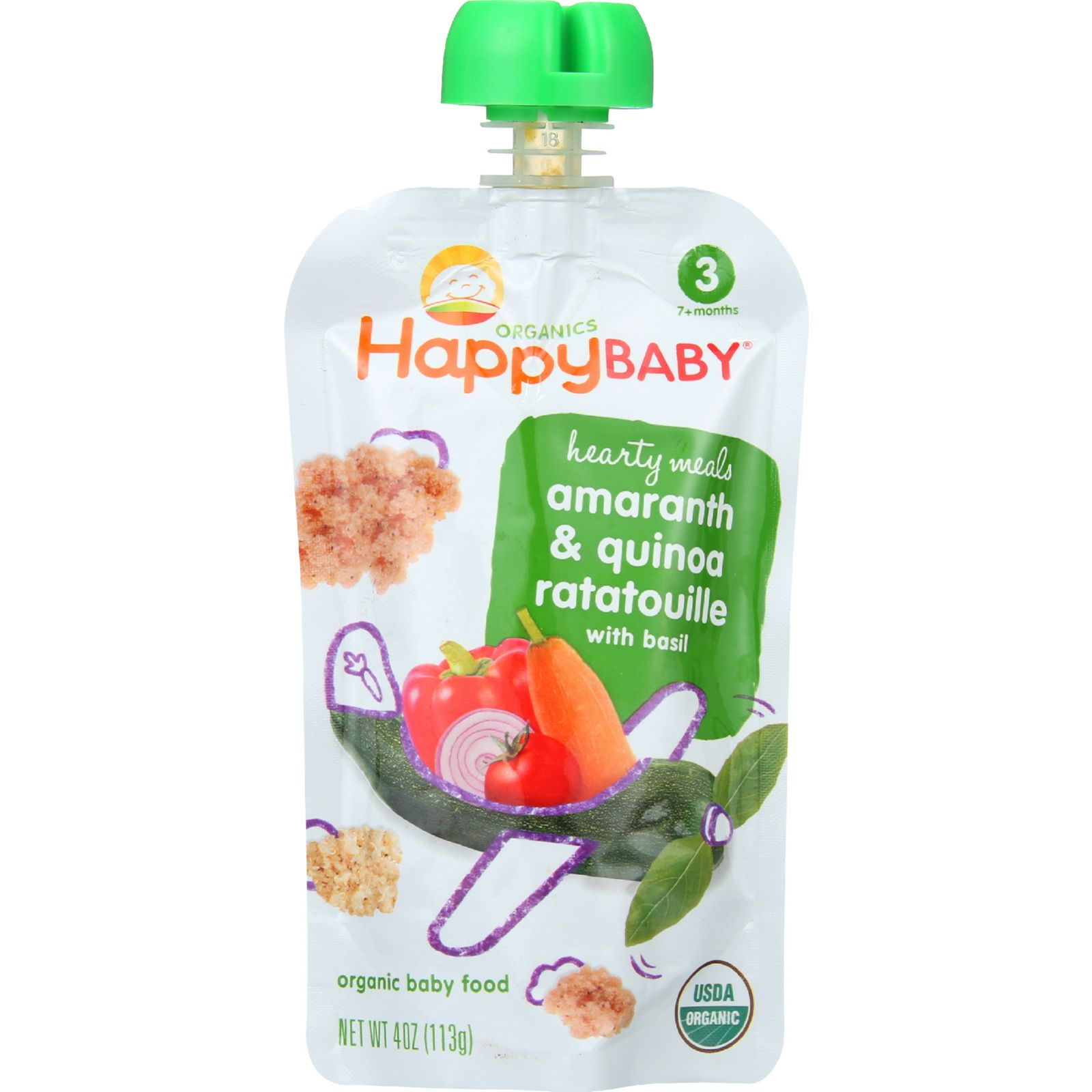Happy Baby Baby Food - Organic - Hearty Meals - Stage 3 - Amaranth and Quinoa Ratatouille - 4 oz - case of 16