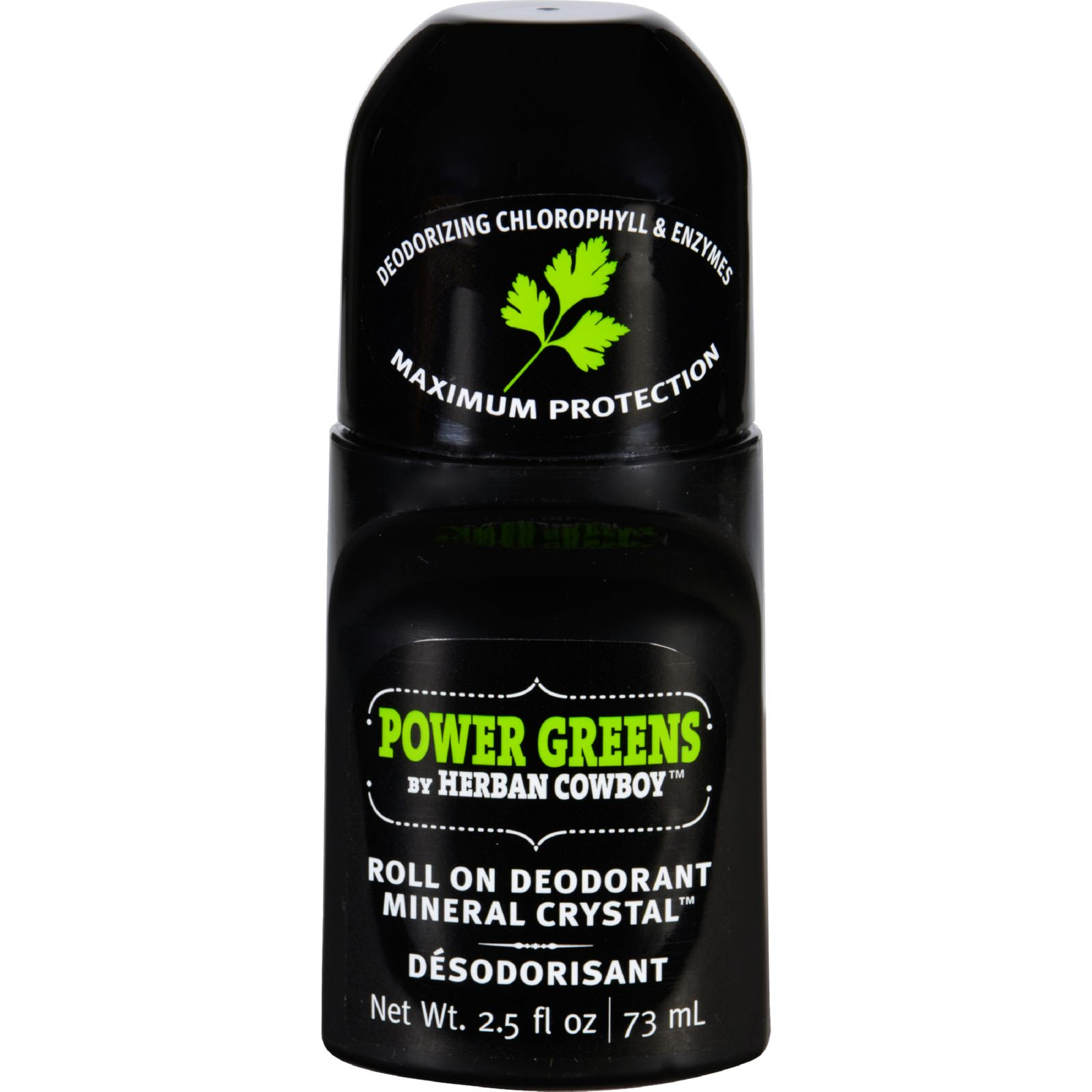 Herban Cowboy Deodorant - Roll On - Power Greens - 2.5 Oz