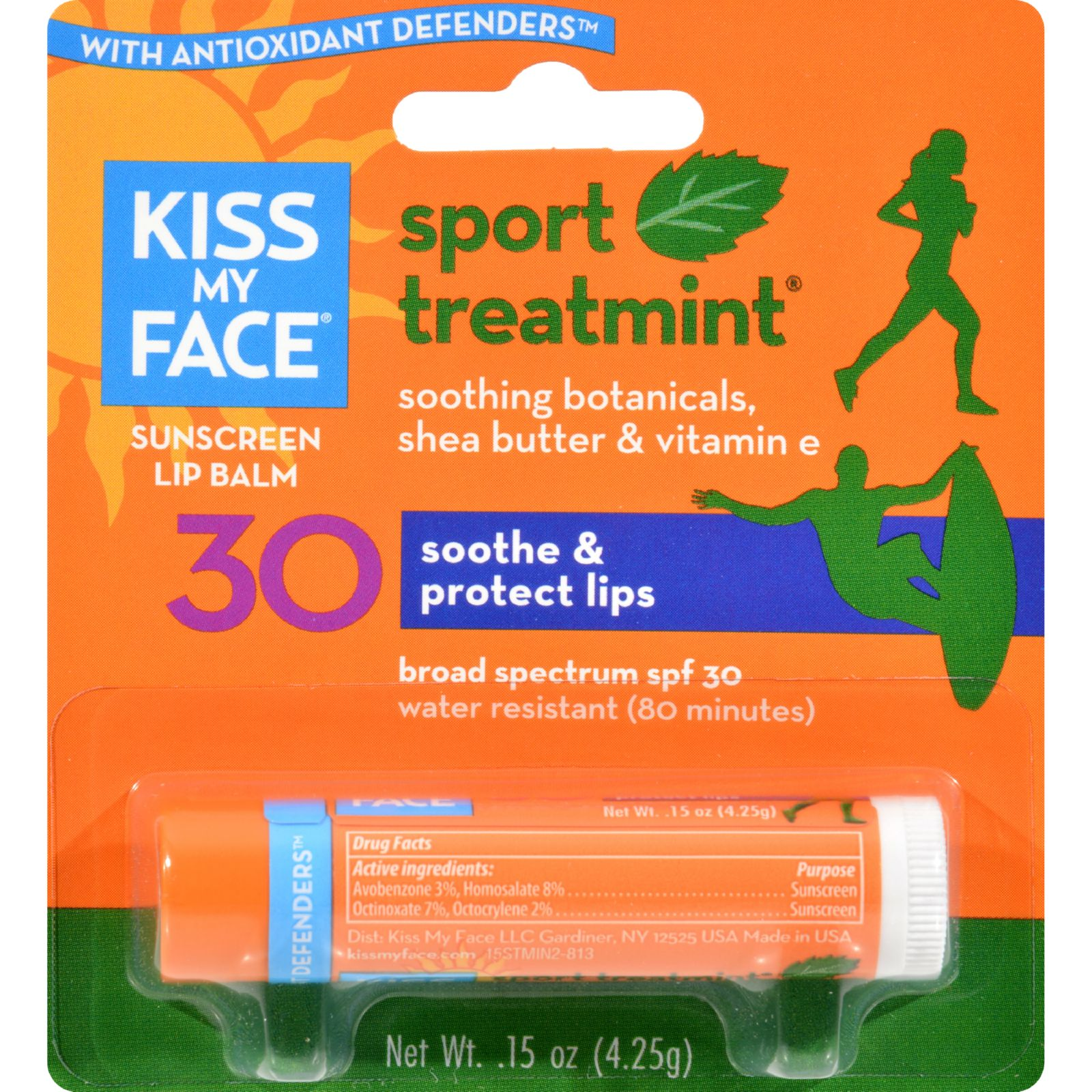 Kiss My Face Lip Balm Sport - Mint - Spf 30 - Case Of 12 - .15 Oz