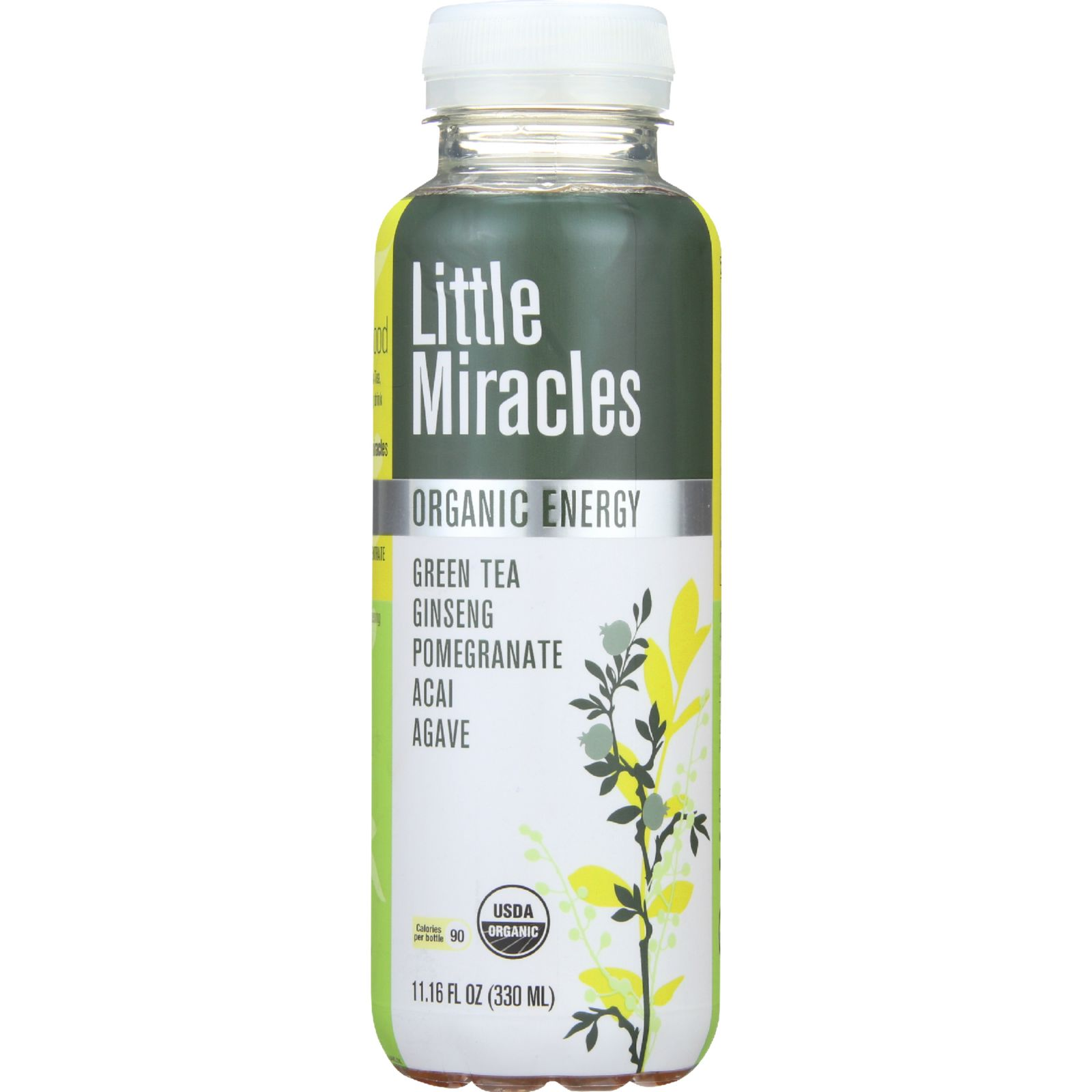 Little Miracles Drink - Organic - Ready To Drink - Green Tea Ginseng Pomegranate Acai Agave - 11.16 Oz - Case Of 12
