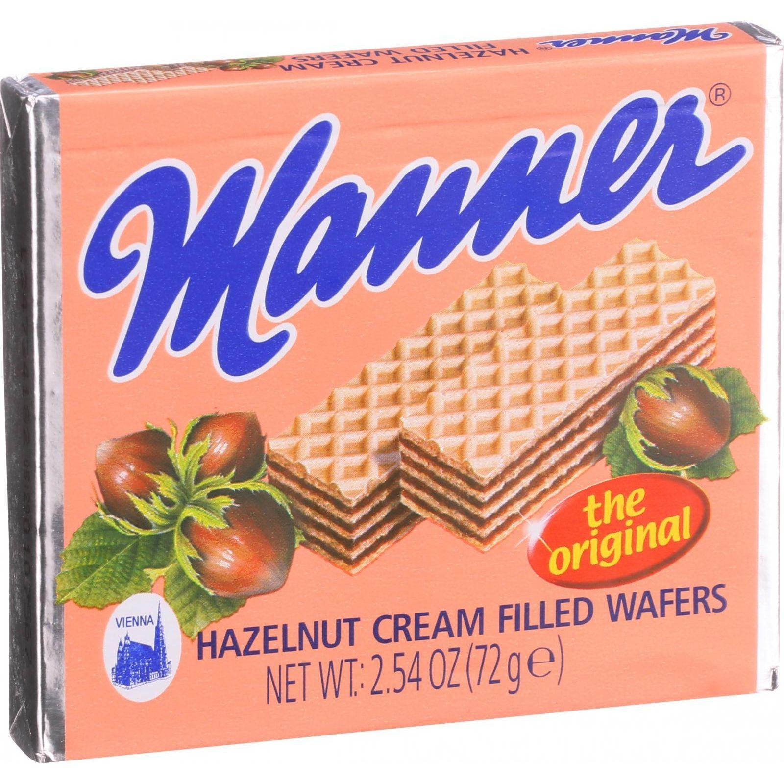 Manner Wafers - Hazelnut Cream Filled - 2.11 oz - Case of 12