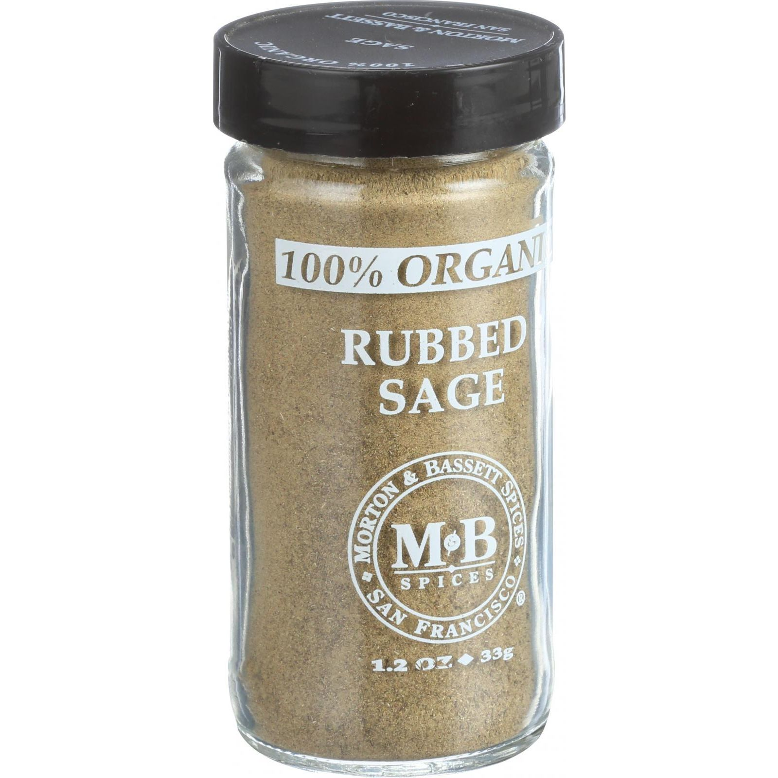 Morton And Bassett 100% Organic Seasoning - Rubbed Sage - 1.2 Oz - Case Of 3
