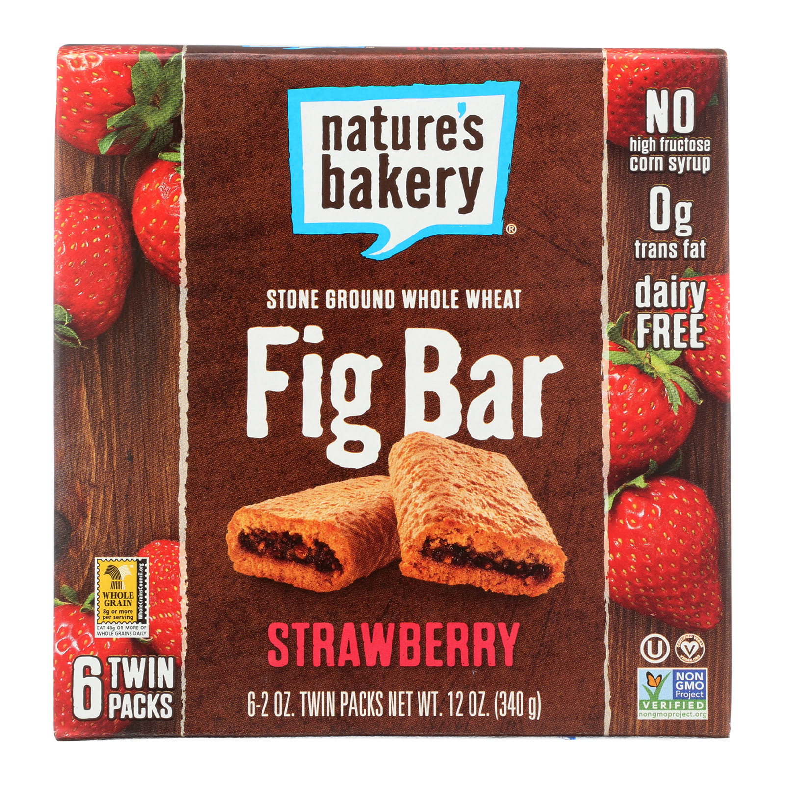 Nature's Bakery Stone Ground Whole Wheat Fig Bar - Strawberry - Case Of 12 - 2 Oz.