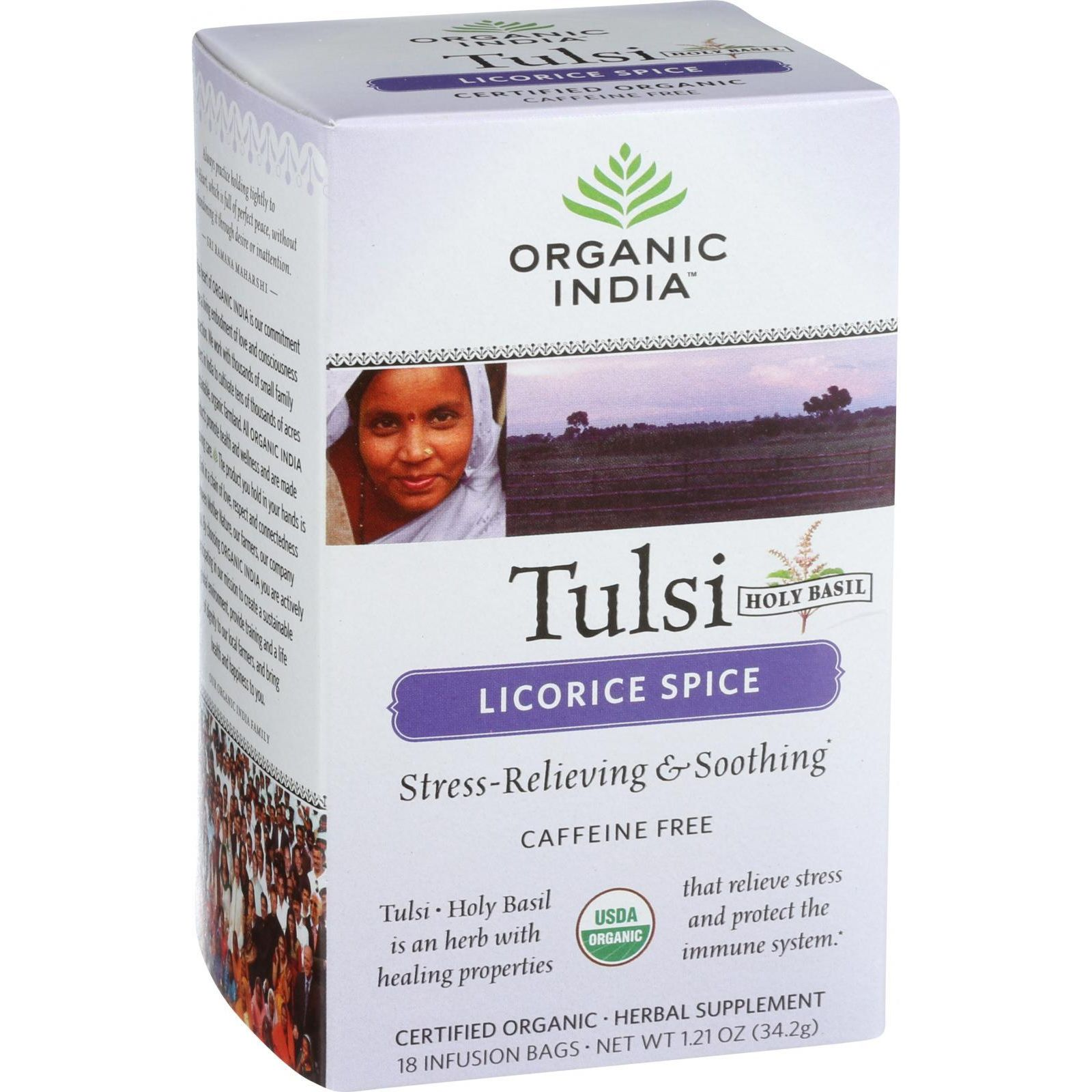 Organic India Organic Tulsi Tea - Licorice Spice - Caffeine Free - Infusion Bags - 18 Tea Bags - Case Of 7