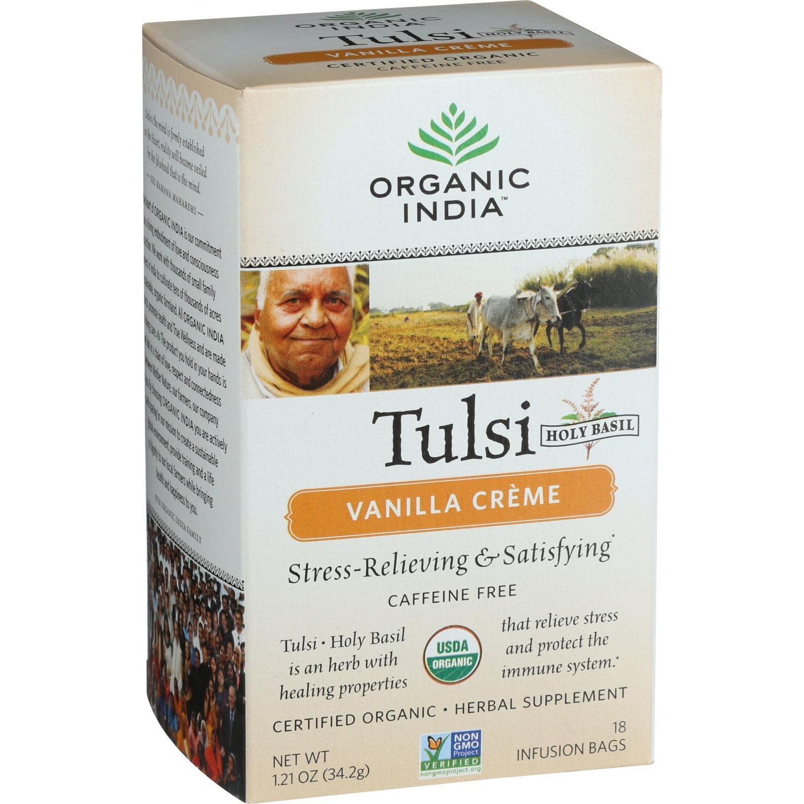 Organic India Organic Tulsi Tea - Vanilla Creme - Caffeine Free - 18 Tea Bags - Case Of 7