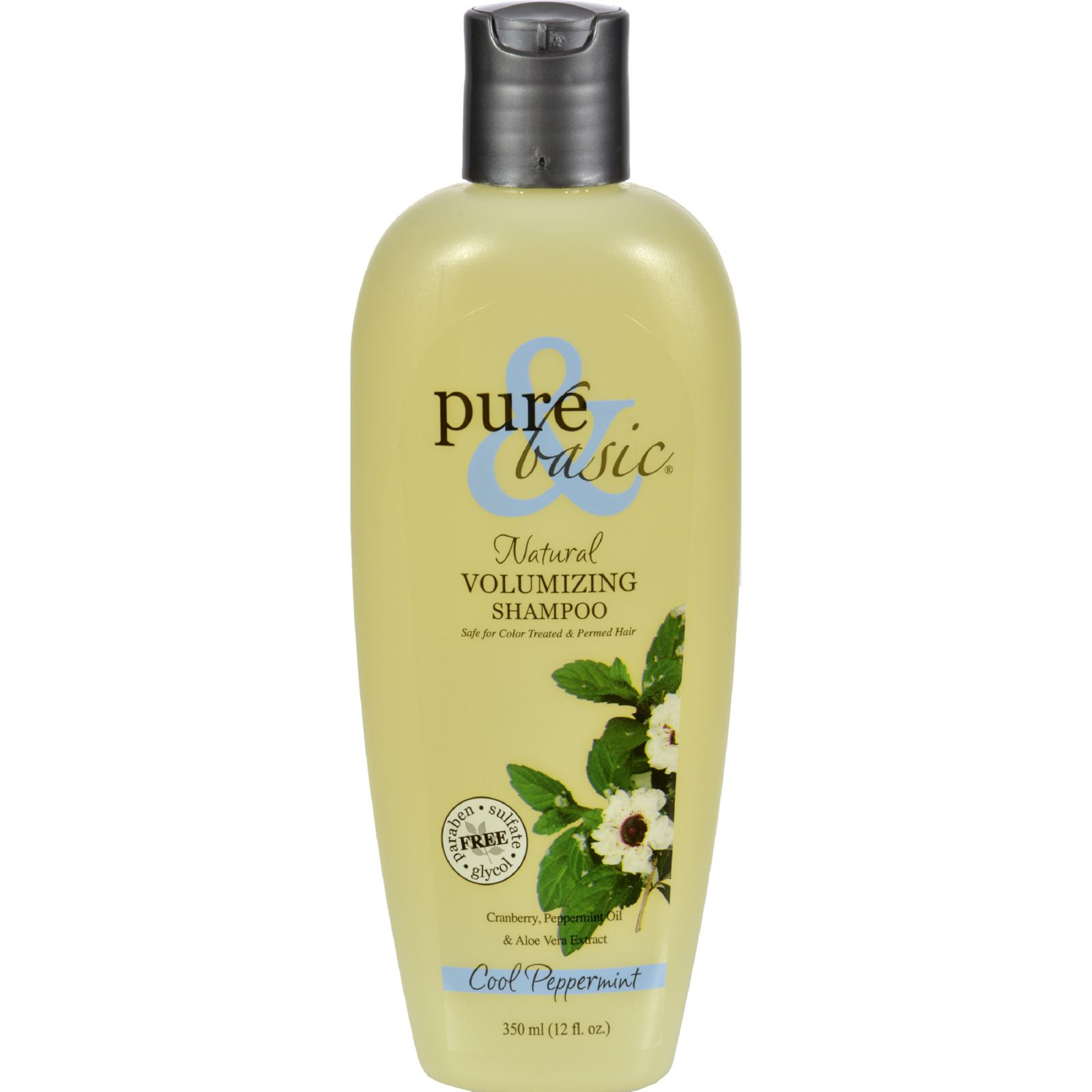 Pure And Basic Natural Volumizing Shampoo Cool Peppermint - 12 Fl Oz