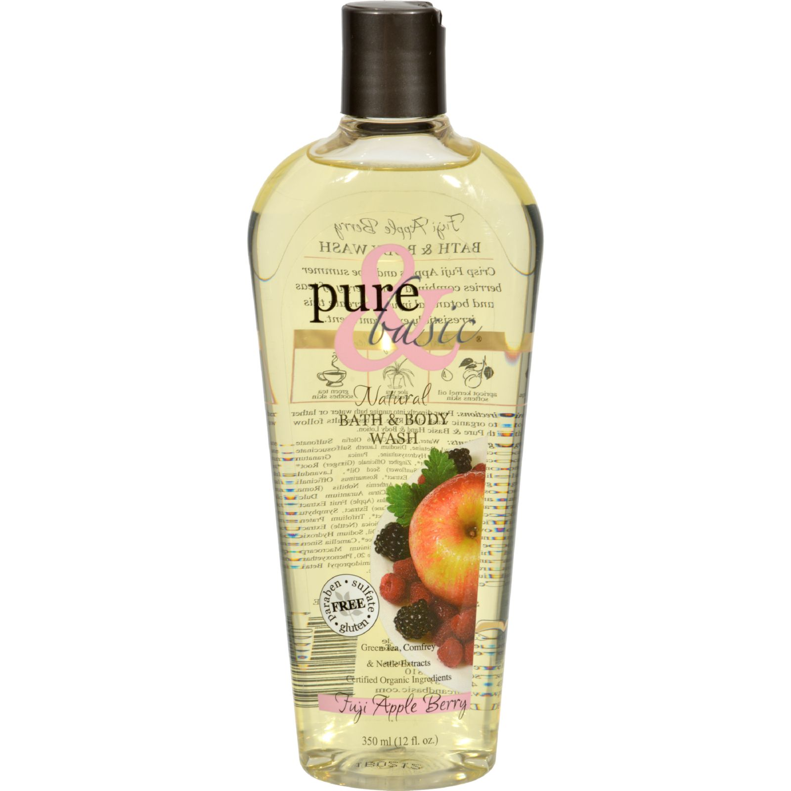 Pure And Basic Natural Bath And Body Wash Fuji Apple Berry - 12 Fl Oz