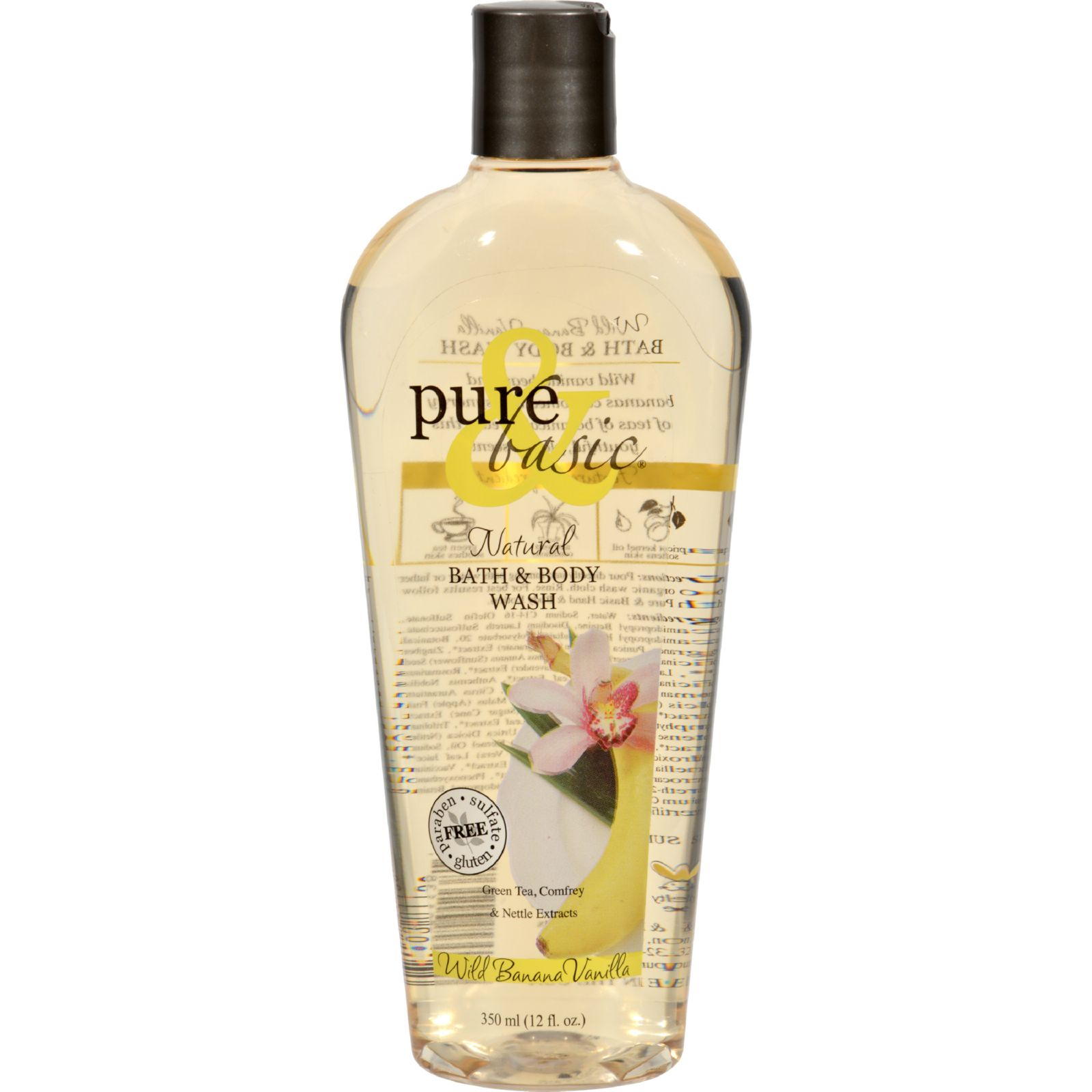 Pure And Basic Natural Bath And Body Wash Wild Banana Vanilla - 12 Fl Oz