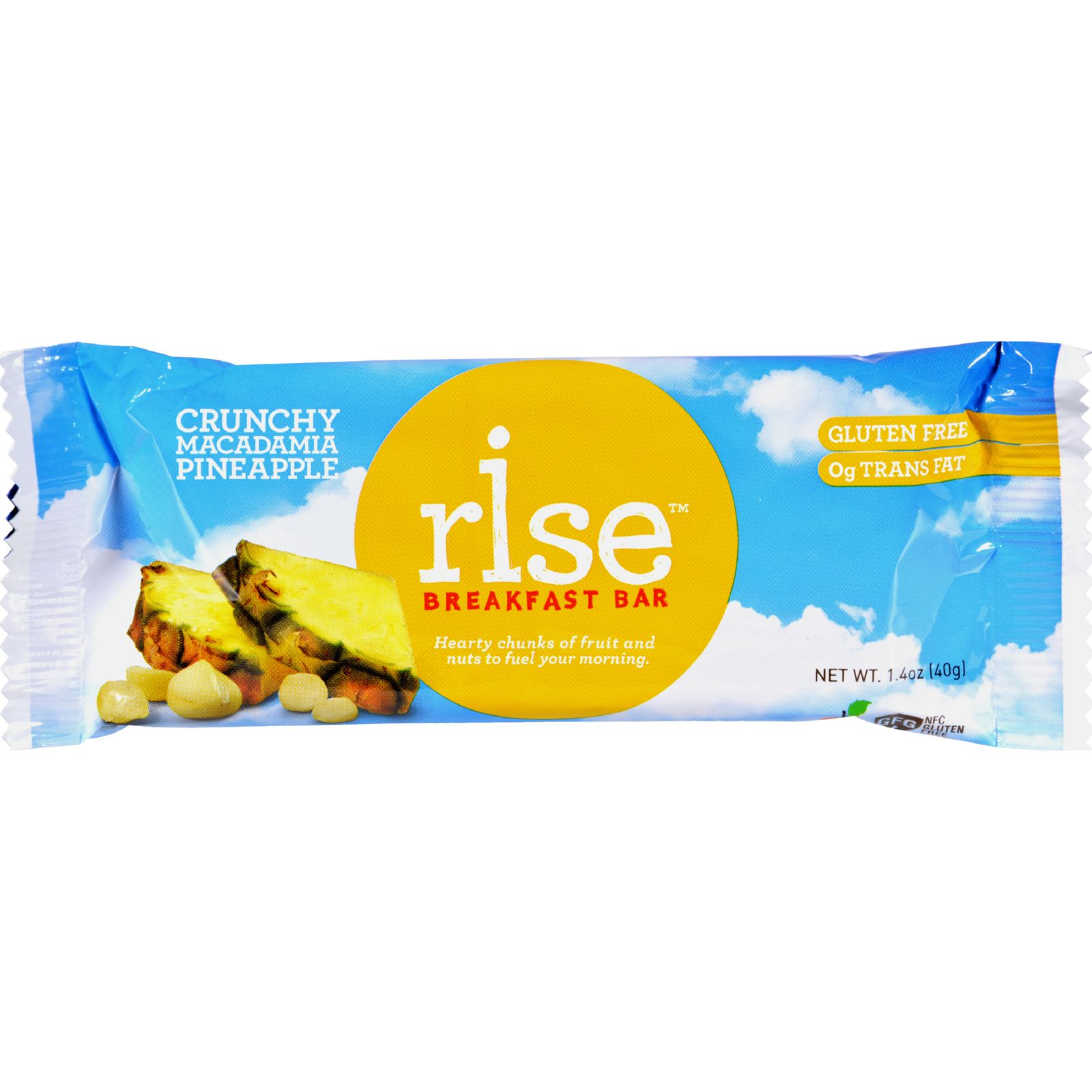 Rise Bar Breakfast Bar - Crunchy Macadamia Pineapple - Case Of 12 - 1.4 Oz