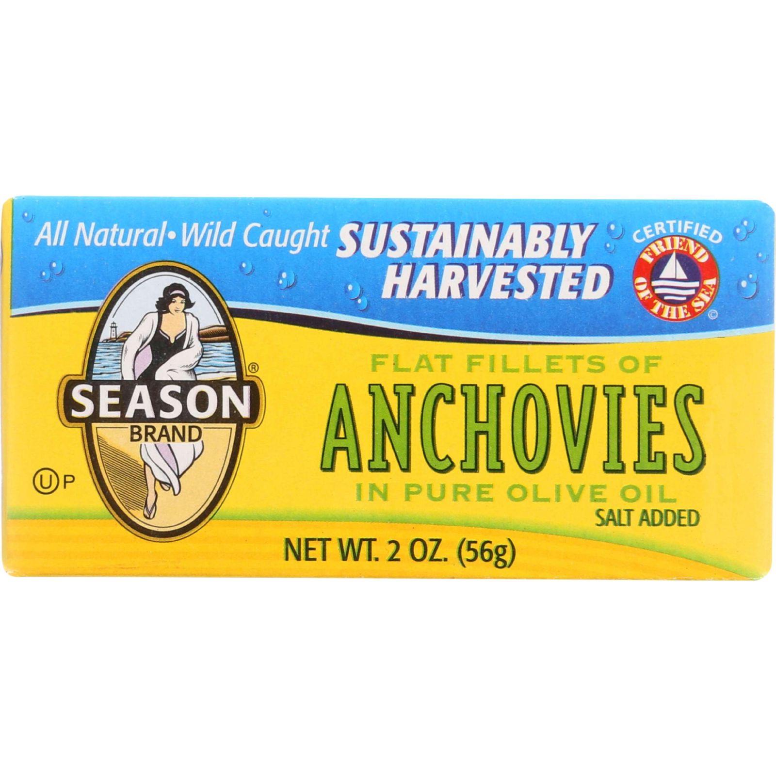 Season Brand Anchovies - Flat Fillets - Salt Added - 2 Oz - Case Of 25